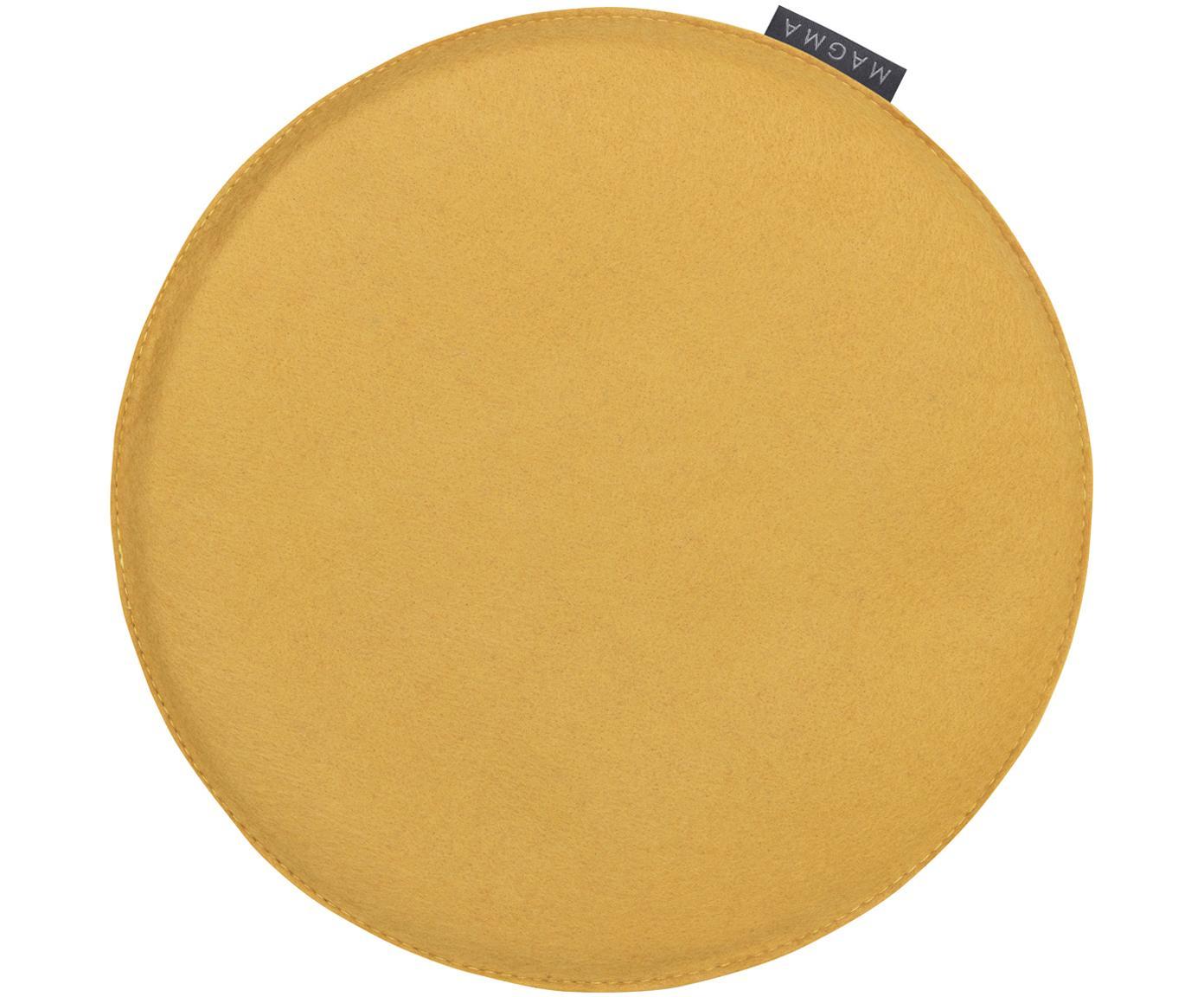 Okrągła poduszka na siedzisko z filcu Avaro, 4 szt., Brunatnożółty, Ø 35 x W 1 cm