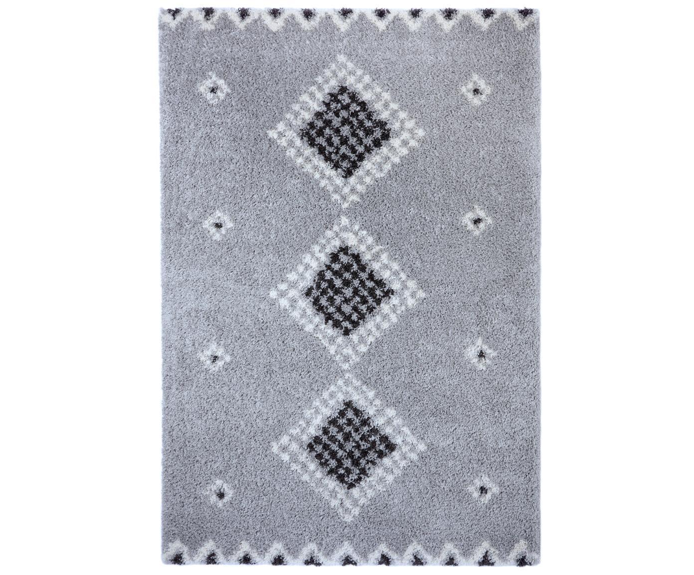 Teppich Cassia mit Ethnomuster, 100% Polypropylen, Grau, Cremefarben. Schwarz, B 80 x L 150 cm (Größe XS)
