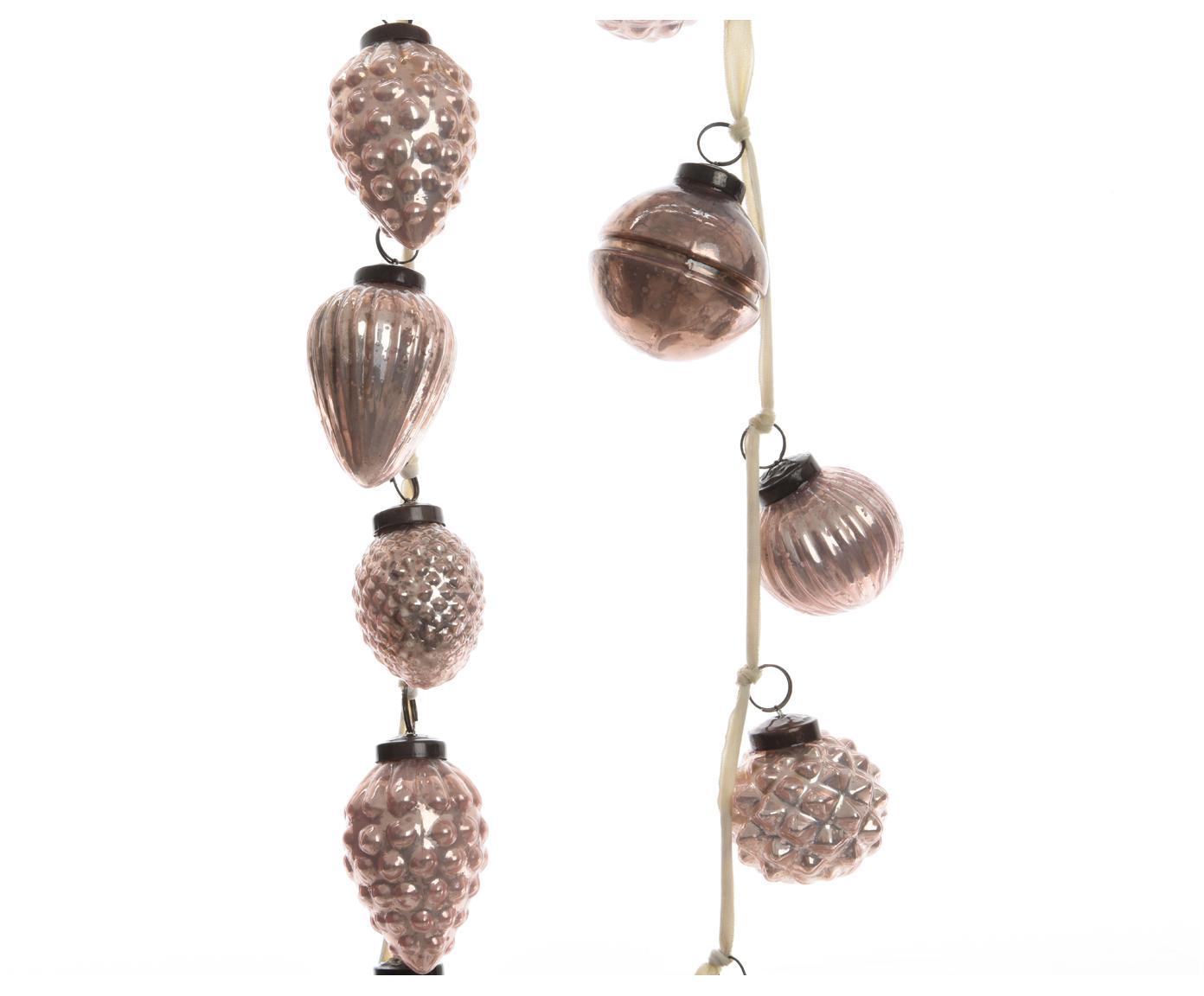 Komplet girland Ball, 2 elem., Szkło, Różowy, D 120 cm