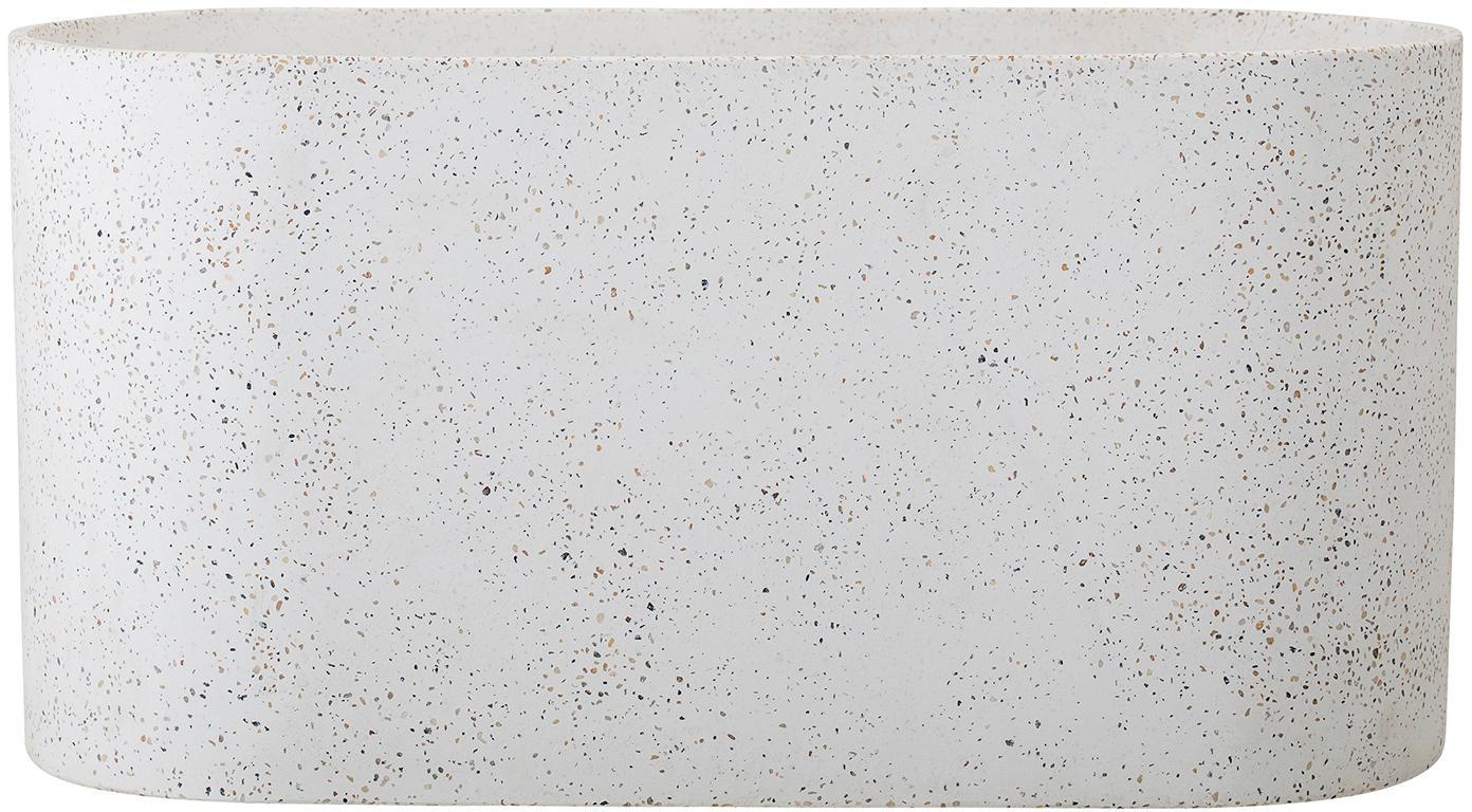 XL Übertopf Liam aus Beton, Beton, Terrazzo, Weiß, Brauntönen, 40 x 20 cm
