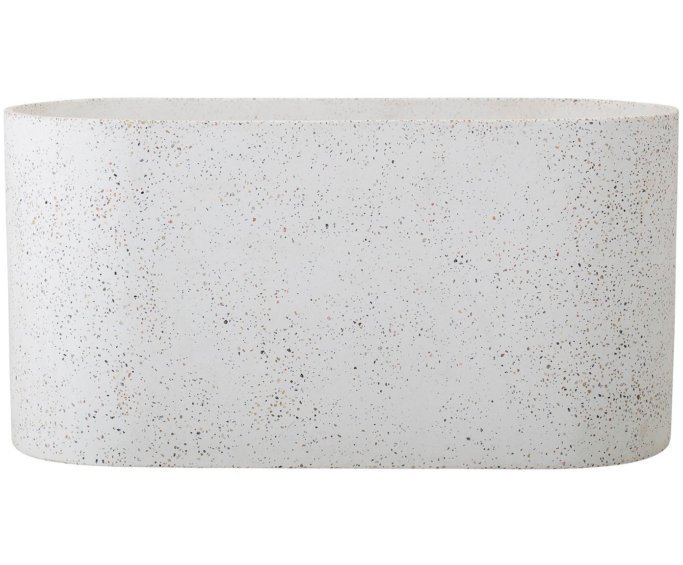 Übertopf Liam, Beton, Terrazzo, Weiß, Brauntönen, 40 x 20 cm