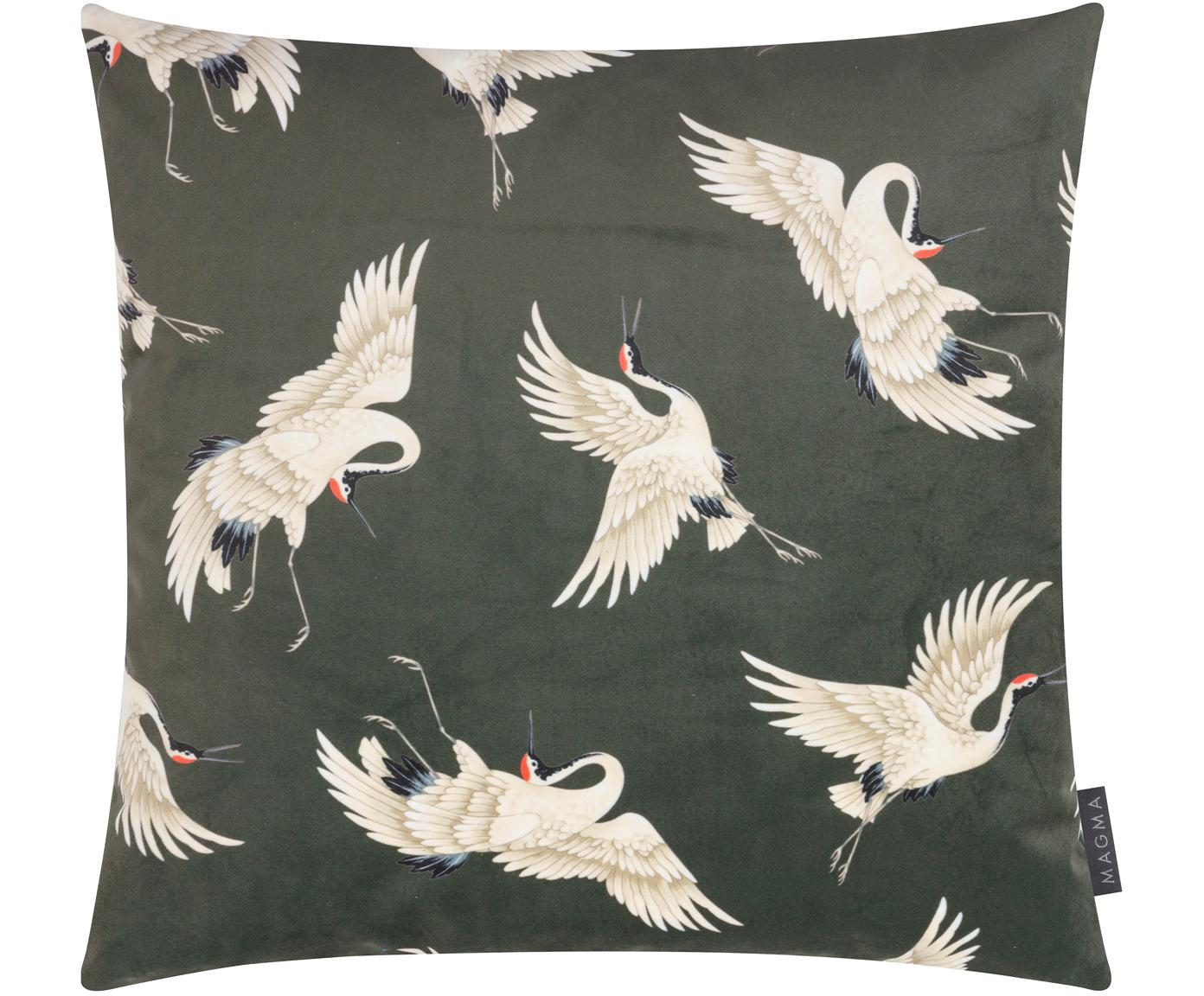Dubbelzijdige fluwelen kussenhoes Cranes, Bedrukt polyesterfluweel, Groen, beige, zwart, rood, 50 x 50 cm