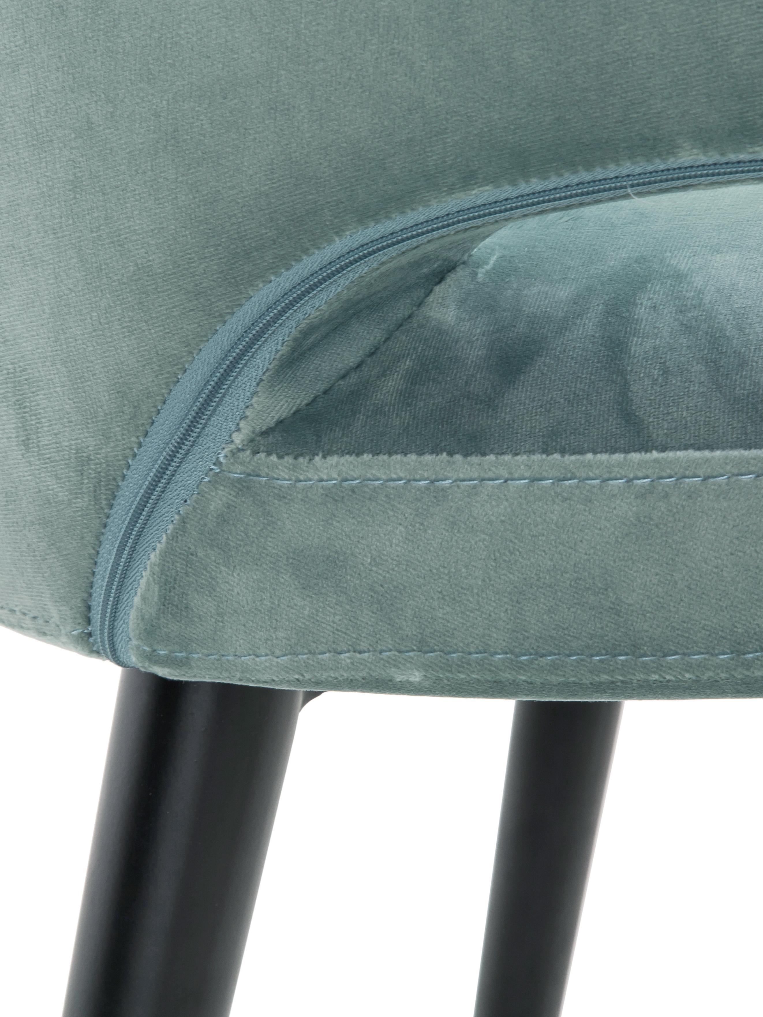 Samt-Armlehnstuhl Celia in modernem Design, Bezug: Samt (Polyester) 30.000 S, Beine: Metall, pulverbeschichtet, Samt Salbeifarben, B 57 x T 62 cm