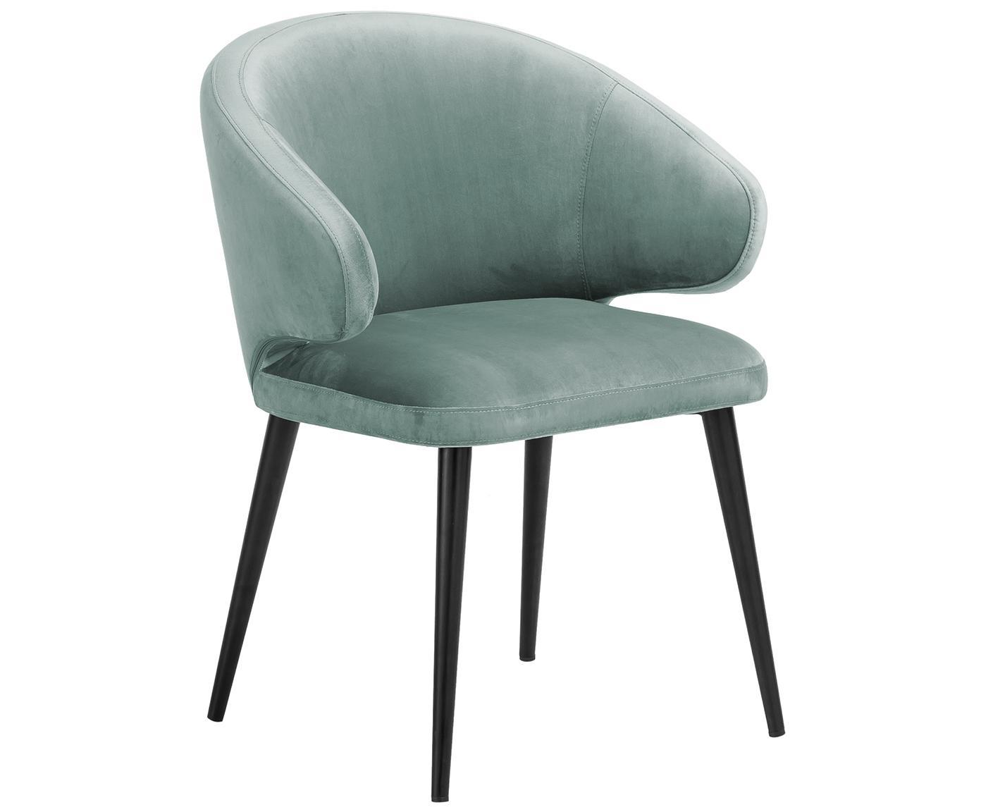Krzesło z podłokietnikami z aksamitu Celia, Tapicerka: aksamit (poliester) Tkani, Nogi: metal malowany proszkowo, Aksamitny szałwiowy zielony, S 57 x G 62 cm