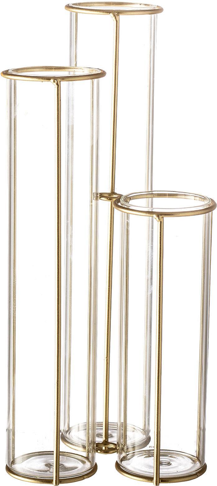 Jarrón Gerbera, Estructura: metal, recubierto, Jarrón: vidrio, Latón, transparente, An 12 x Al 25 cm