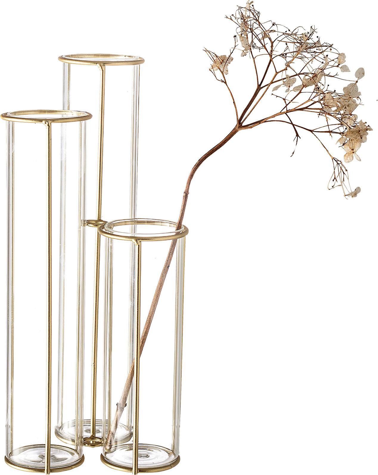 Vaso con struttura in metallo Gerbera, Struttura: metallo rivestito, Vaso: vetro, Ottonato trasparente, Larg. 12 x Alt. 25 cm