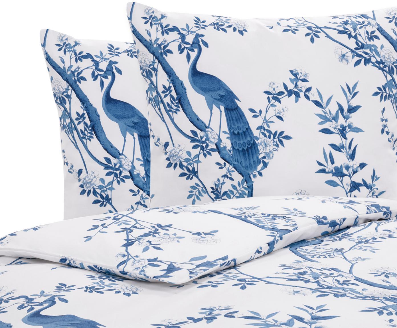Baumwollperkal-Bettwäsche Annabelle mit floraler Zeichnung, Webart: Perkal Fadendichte 200 TC, Blau, Weiß, 240 x 220 cm + 2 Kissen 80 x 80 cm
