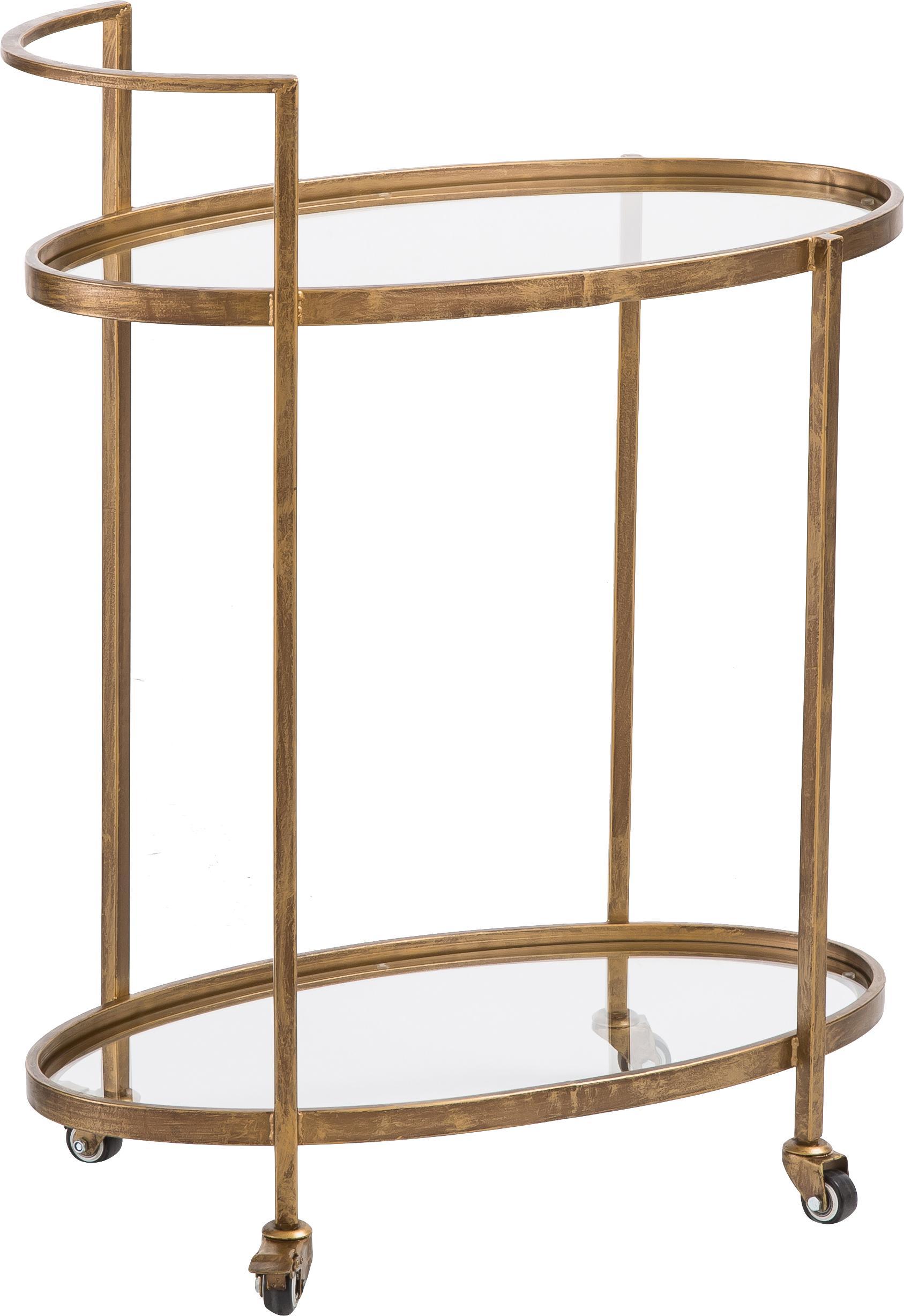 Wózek barowy ze szklanymi blatami Push Antic, Stelaż: metal mosiądzowany, Mosiądz, transparentny, S 67 x W 86 cm