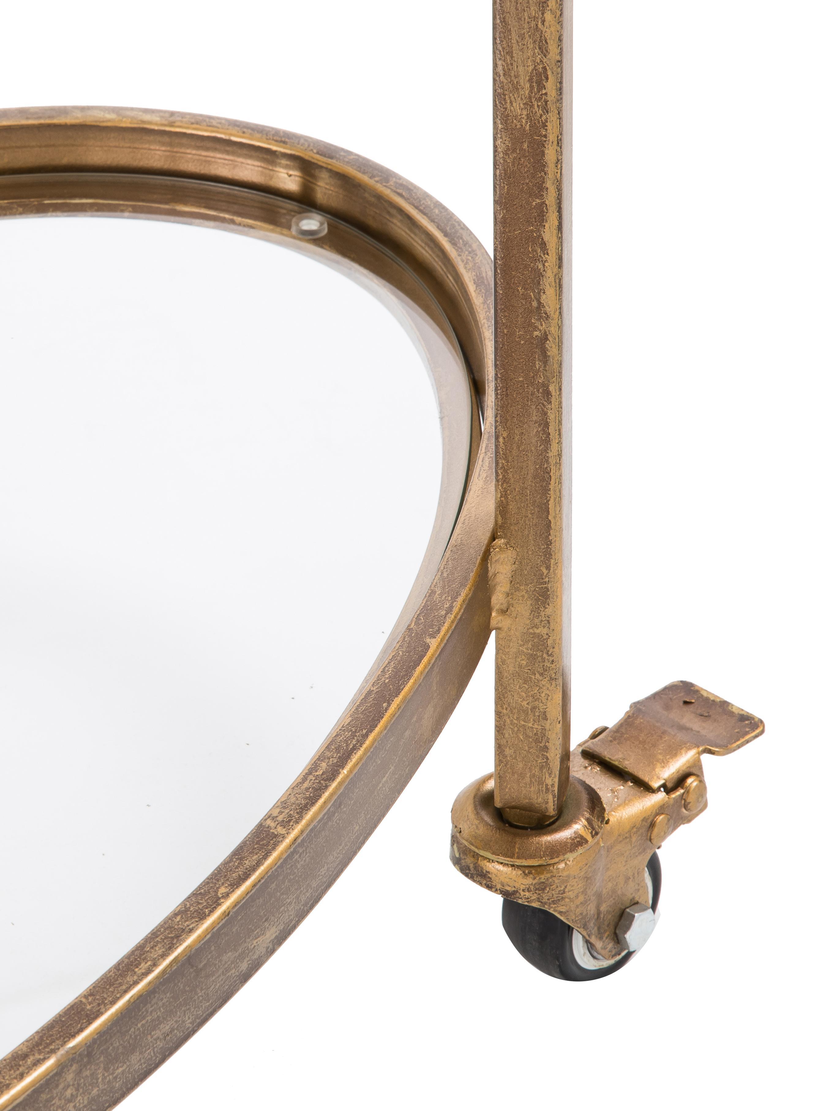 Servierwagen Push Antic mit Glasplatten, Gestell: Metall, vermessingt, Messing, Transparent, 67 x 86 cm