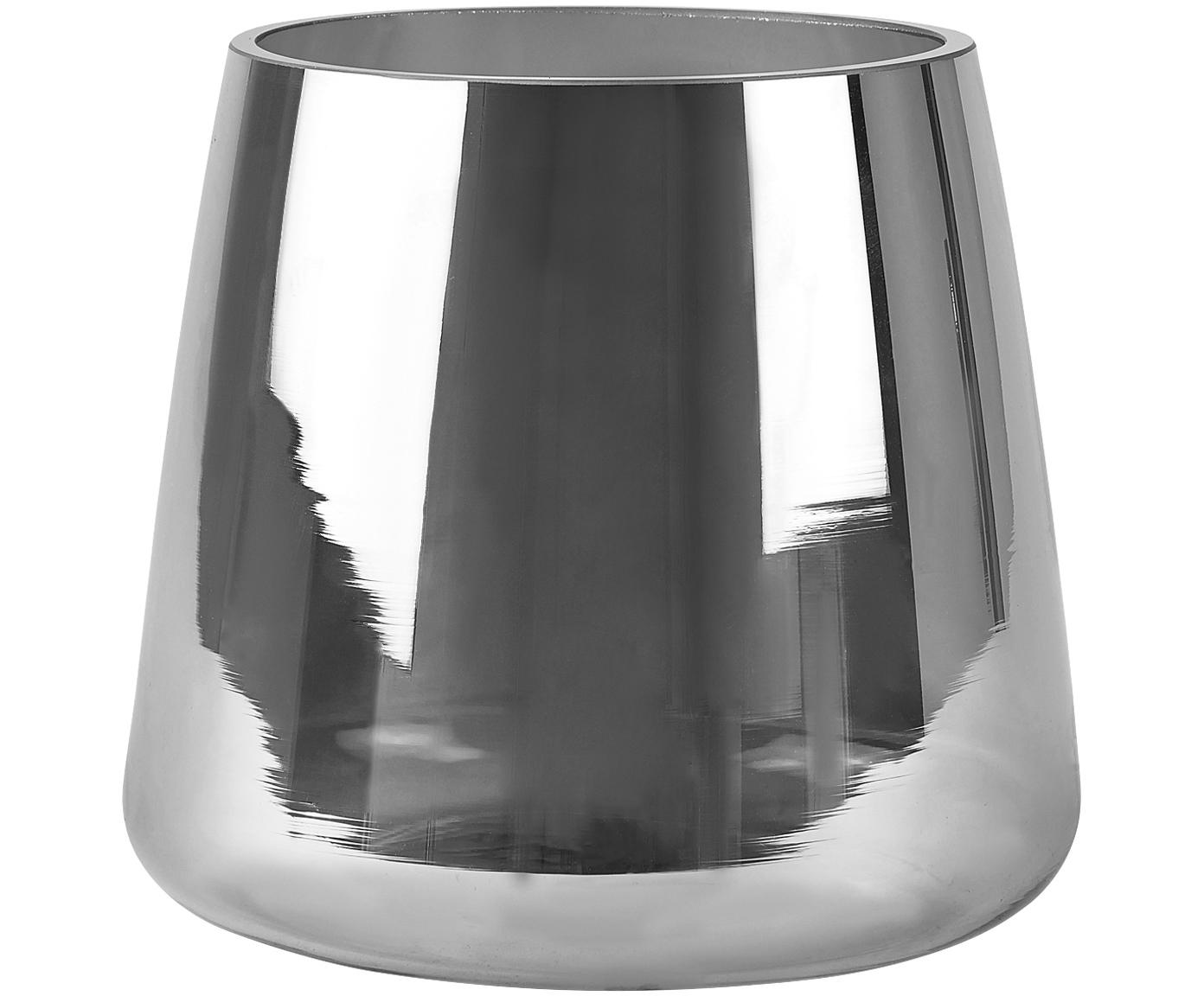 Jarrón de vidrio Carina, Vidrio, Plateado, transparente, Ø 18 x Al 16 cm