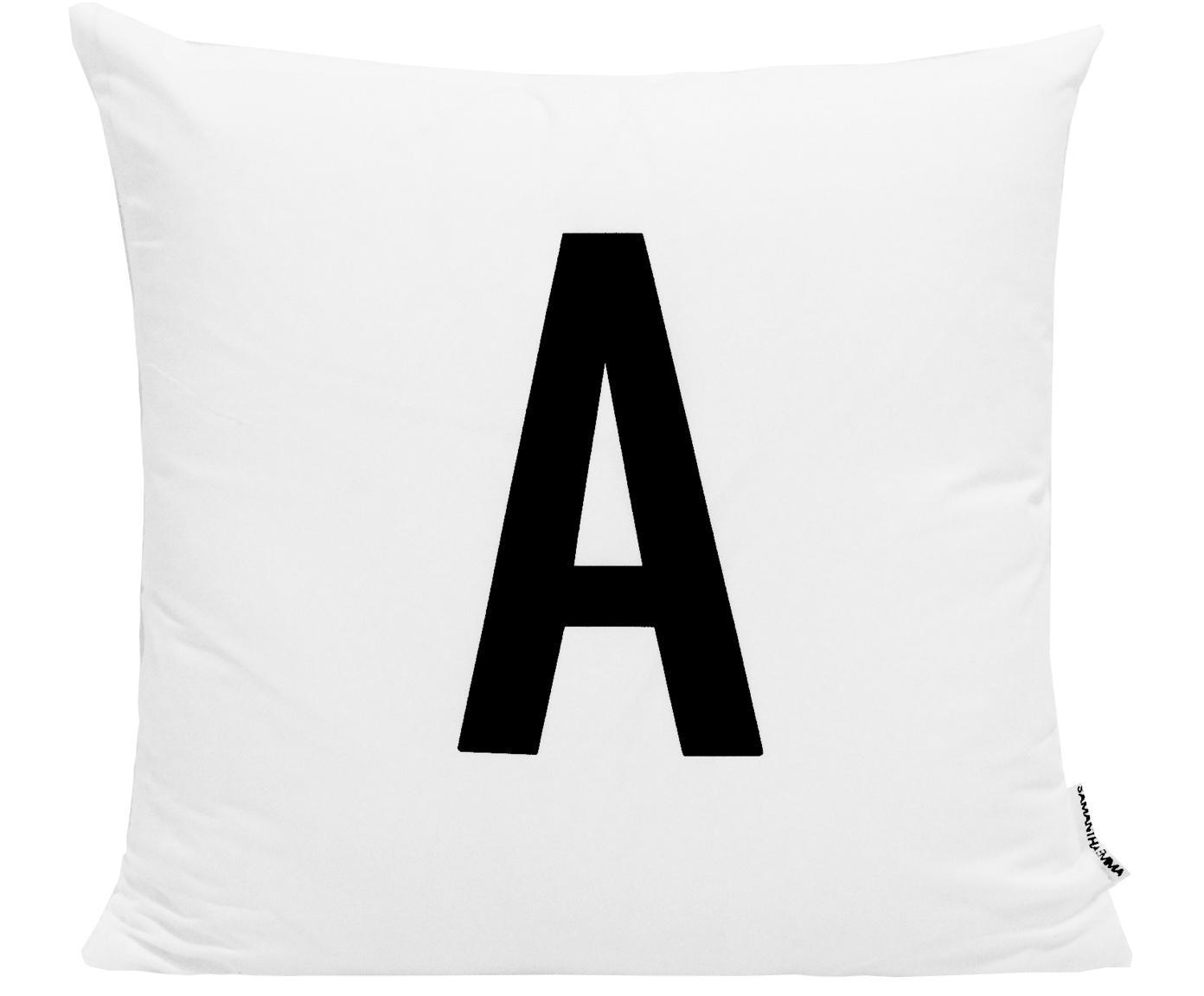 Funda de cojín Alphabet (variantes de A a Z), 100%poliéster, Negro, blanco, Variante A