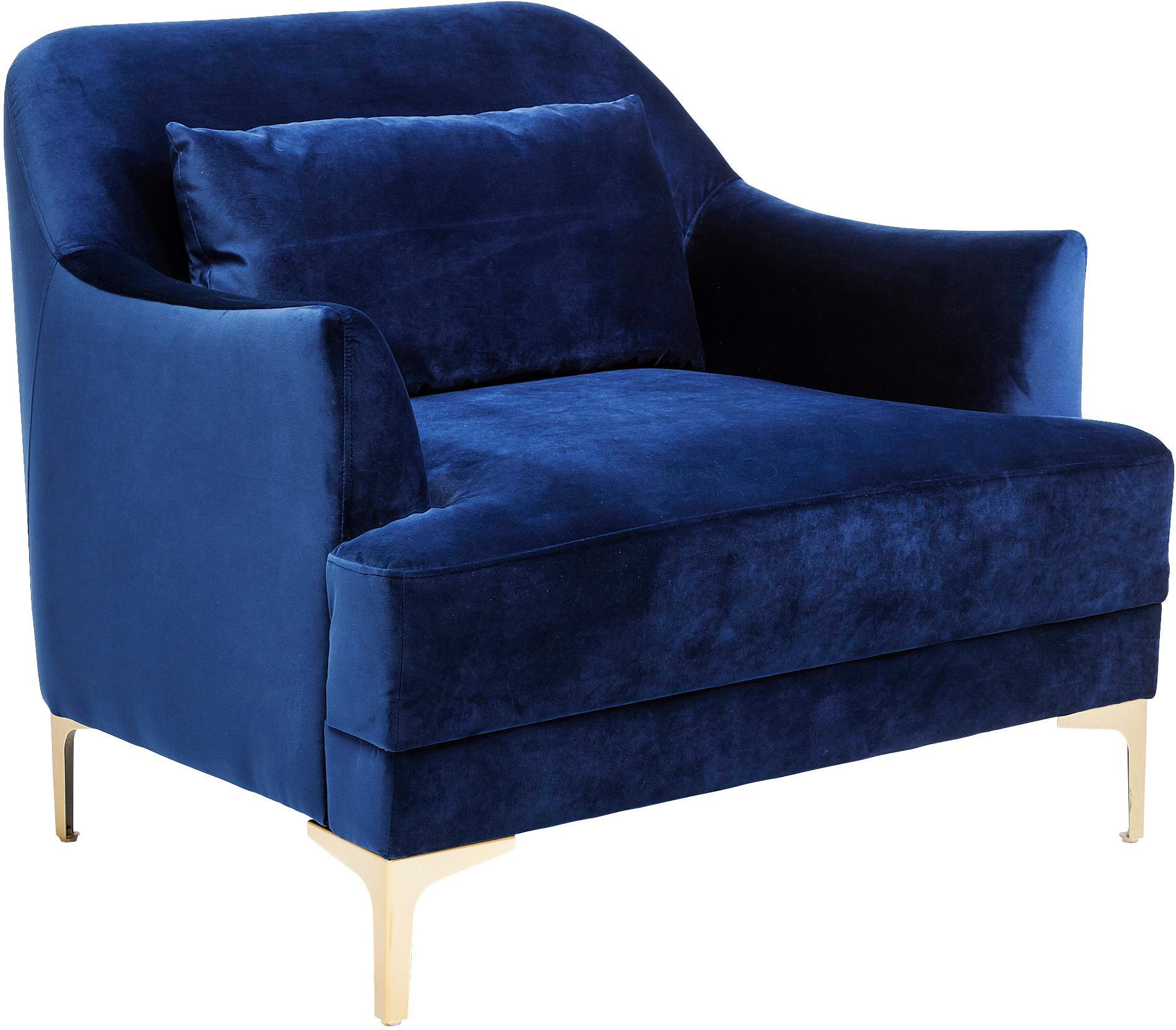 Fluwelen fauteuil Proud, Bekleding: polyester (fluweel), Poten: gelakt metaal, Bekleding: blauw. Poten: goudkleurig, B 98 x D 86 cm