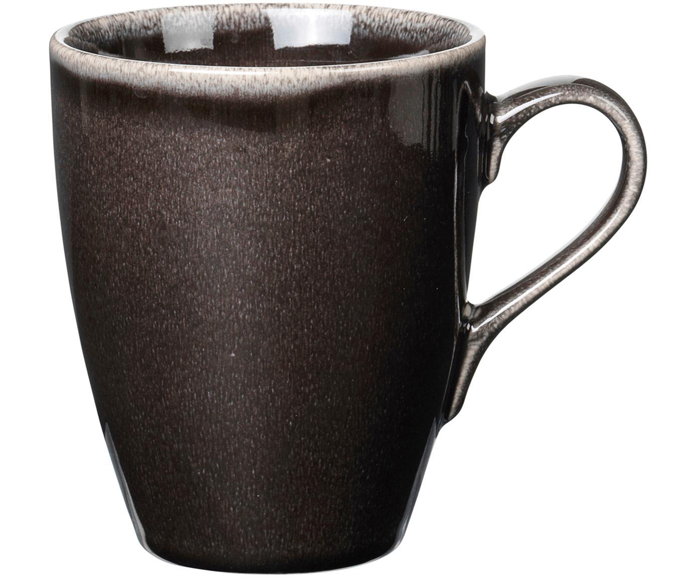 Handgemachte Tassen Nordic Coal aus Steingut, 6 Stück, Steingut, Bräunlich, Ø 10 x H 12 cm