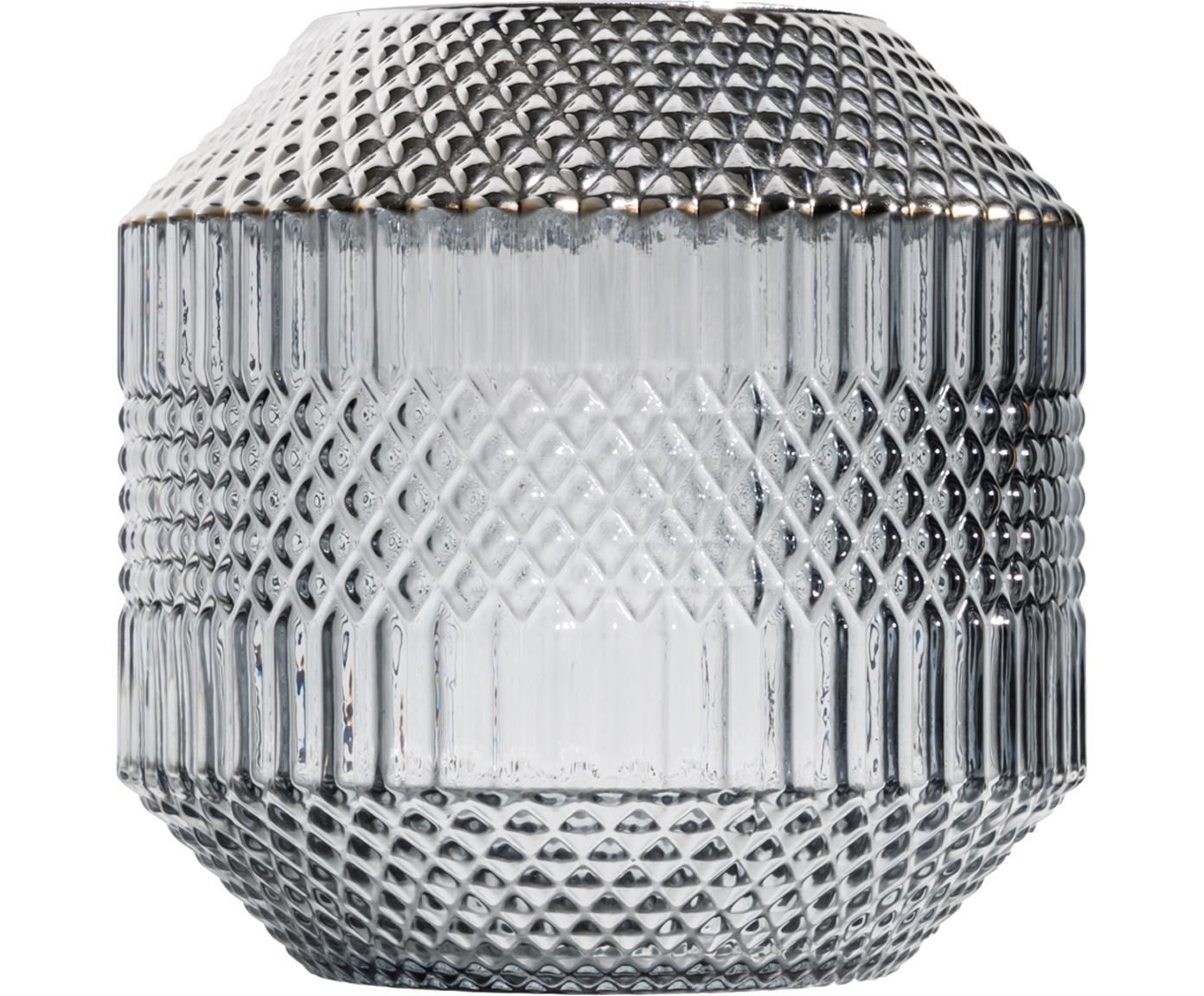 Jarrón de vidrio Dolin, Vidrio, metal, Gris, transparente, plateado, Ø 20 x Al 20 cm
