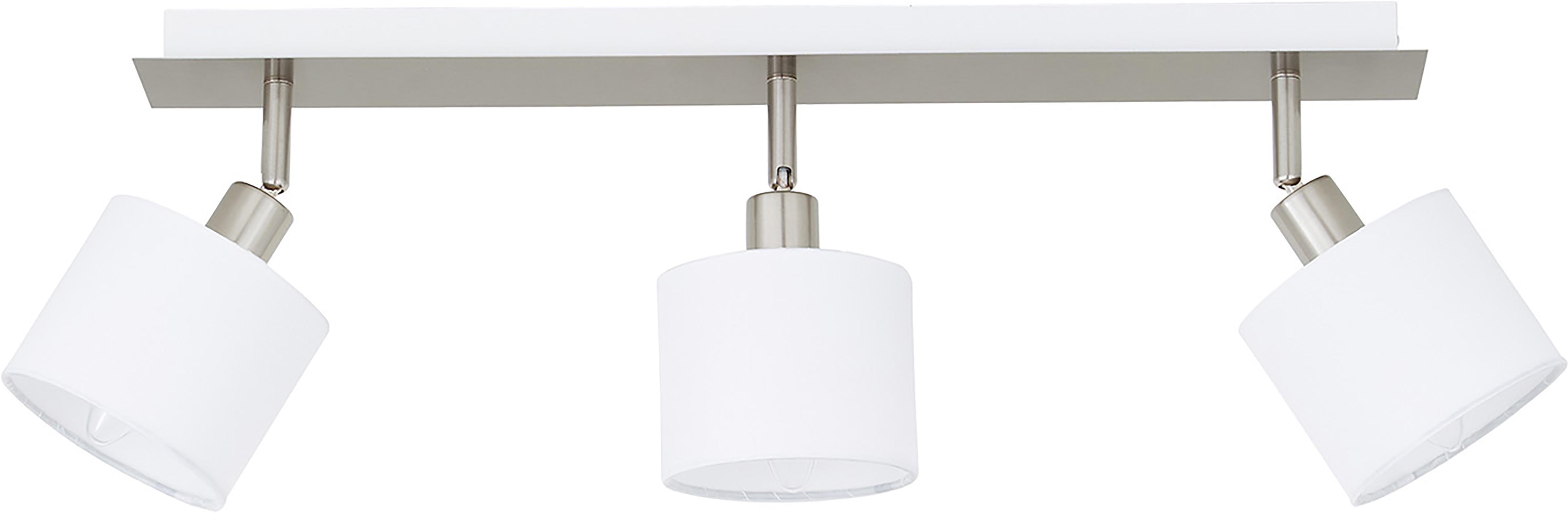 Plafondlamp Casper, Baldakijn: vernikkeld metaal, Zilverkleurig, wit, 56 x 7 cm