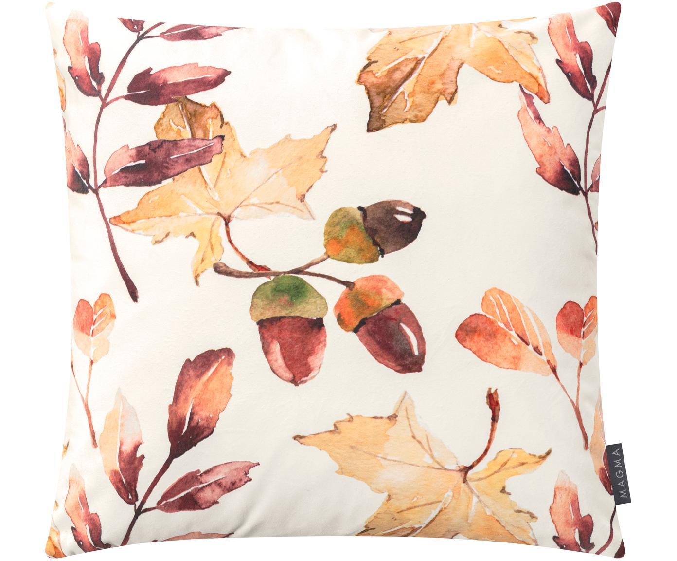 Dwustronna poszewka na poduszkę z aksamitu Eichel, Aksamit poliestrowy, Kremowy, czerwony- i odcienie brązowego, S 50 x D 50 cm