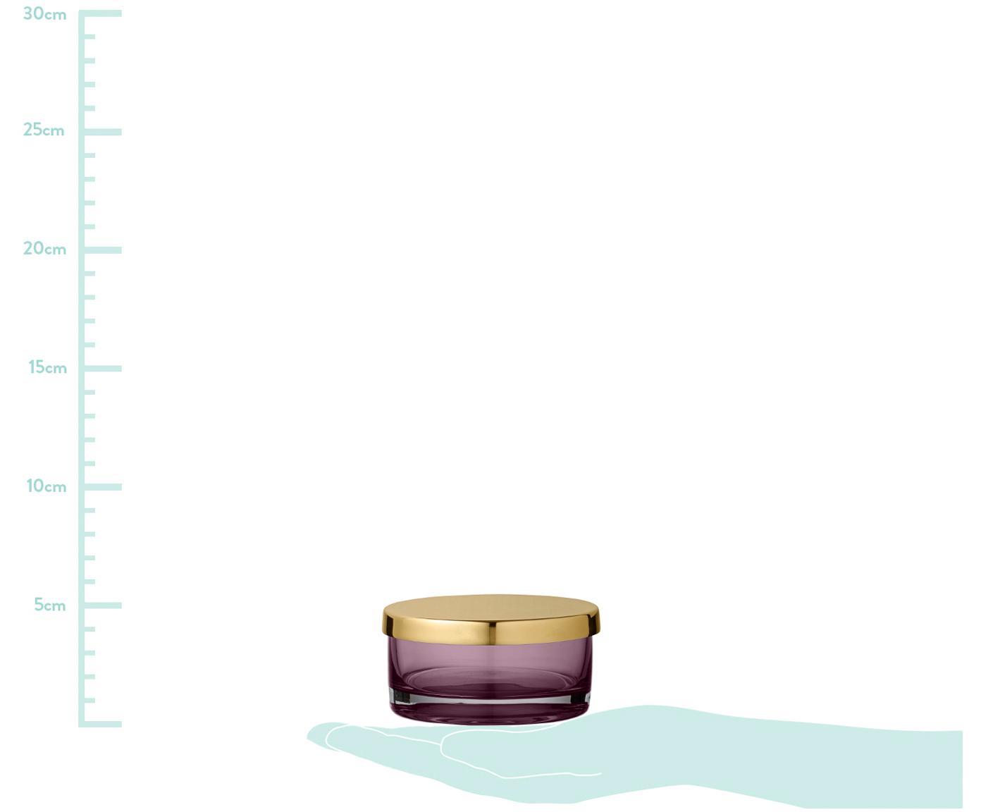 Aufbewahrungsdose Tota, Deckel: Messing, Dose: Glas, Deckel: Messing Dose: Rosa, transparent, Ø 9 x H 5 cm