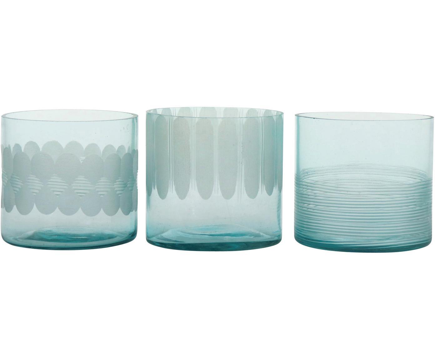 Set 3 portacandele Cosmopol, Vetro, Blu, Ø 8 x Alt. 8 cm