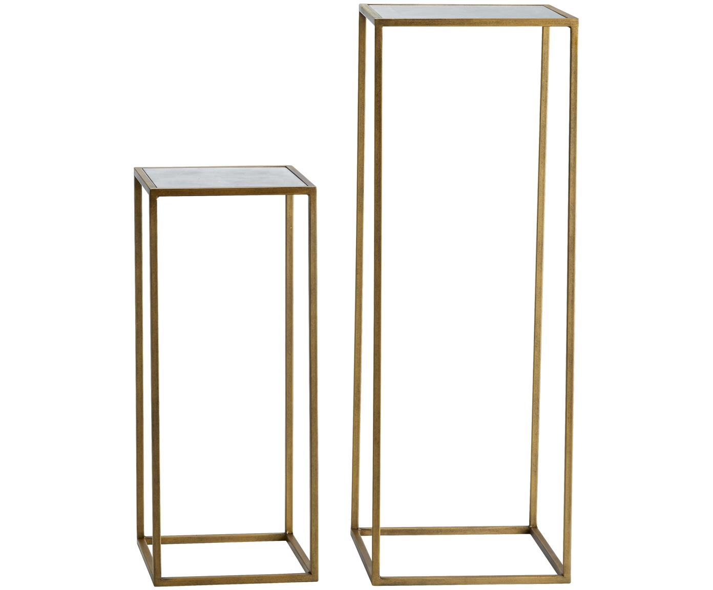 Bijzettafelset Honey, 2-delig, Frame: gelakt metaal, Tafelblad: mat spiegelglas, Messingkleurig, Verschillende formaten
