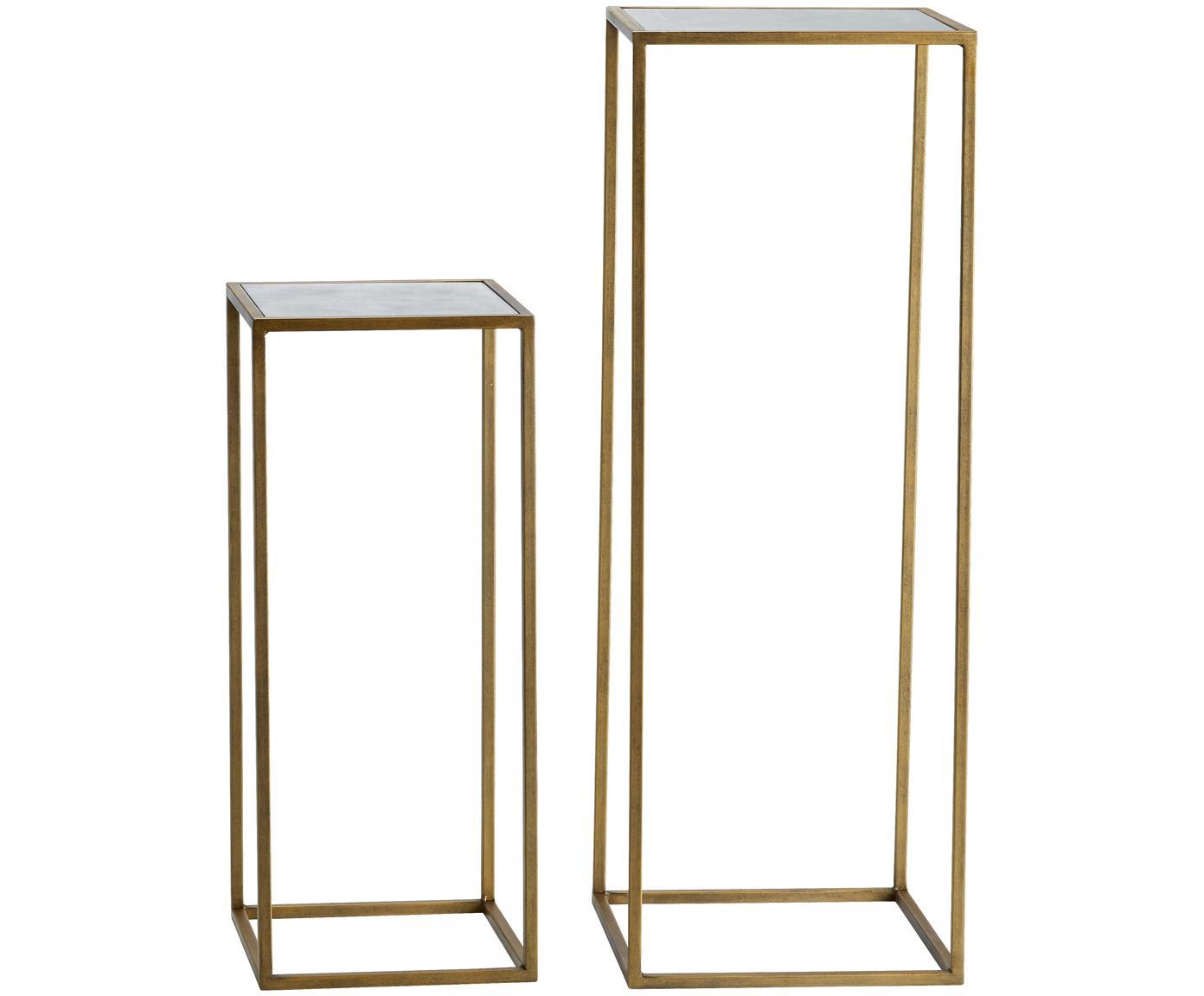 Set de mesas auxiliares Honey, 2uds., tablero de espejo, Estructura: metal, pintado, Tablero: espejo de cristal mate, Latón, Tamaños diferentes