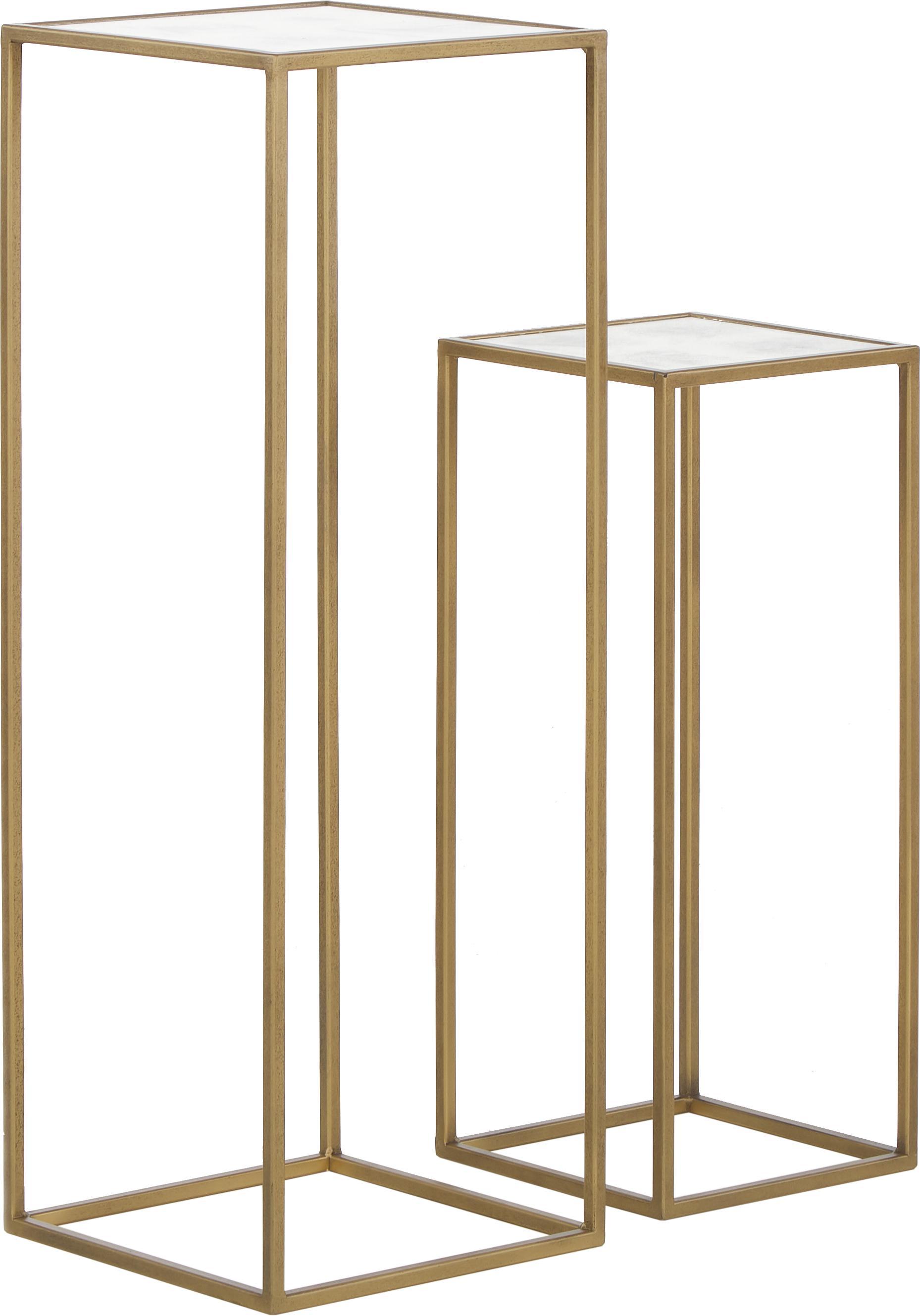 Bijzettafelset Honey, 2-delig, Frame: gelakt metaal, Tafelblad: mat spiegelglas, Messingkleurig, Set met verschillende formaten