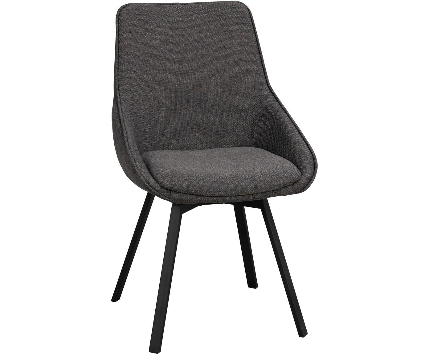 Draaistoel Alison, Bekleding: polyester, Poten: gepoedercoat metaal, Grijs, zwart, B 51 x D 57 cm