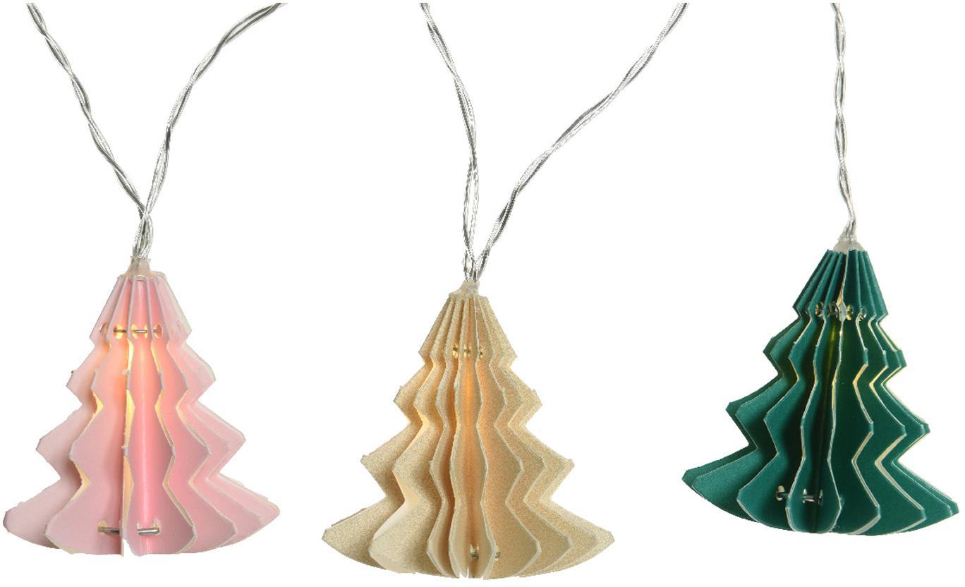 Guirnalda de luces LED Trees, Cable: plástico, Rosa, crema, verde, L 220 cm