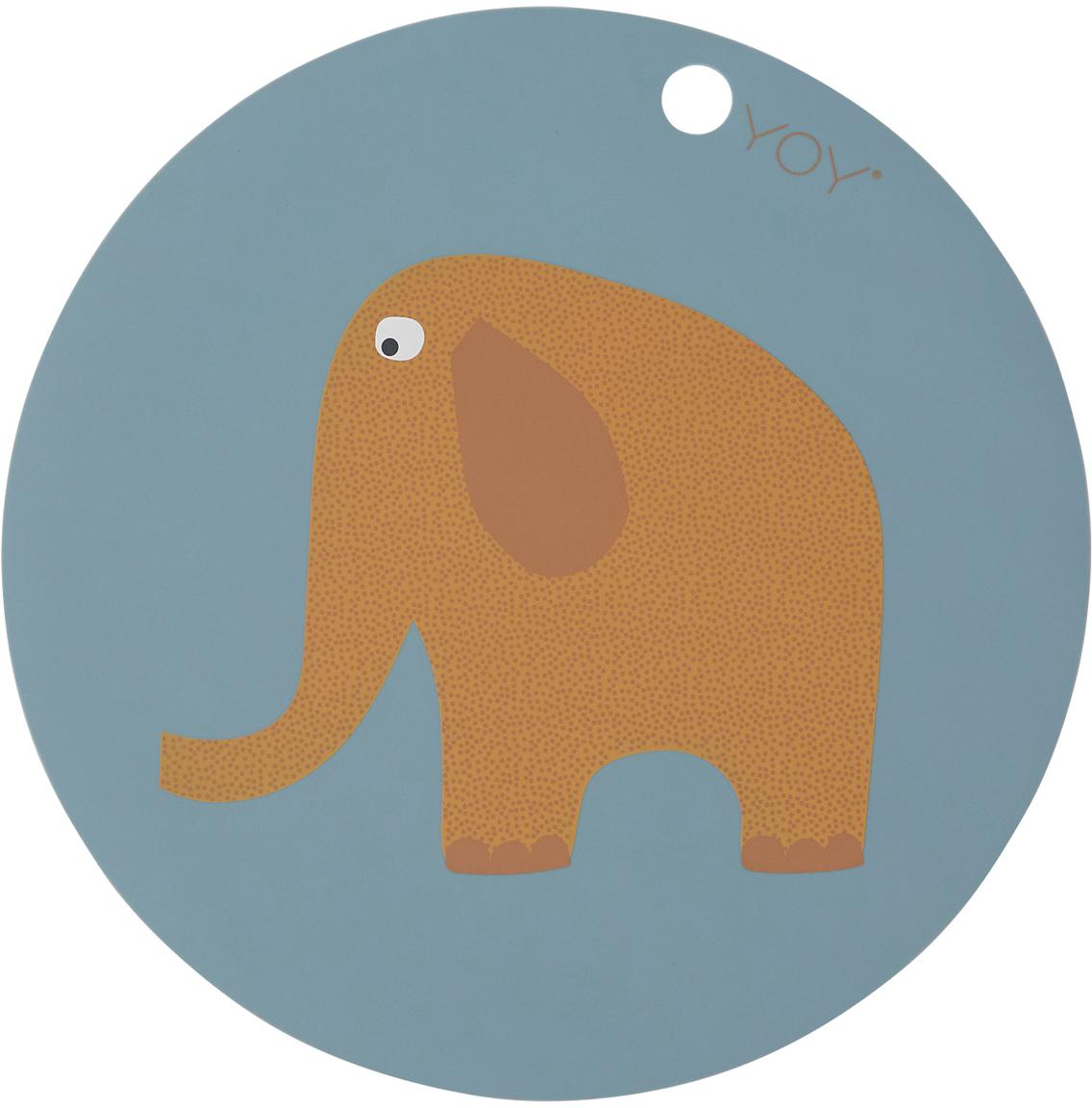 Tischset Elephant, Silikon, Blau, Braun, Orange, Weiß, Schwarz, Ø 39 cm
