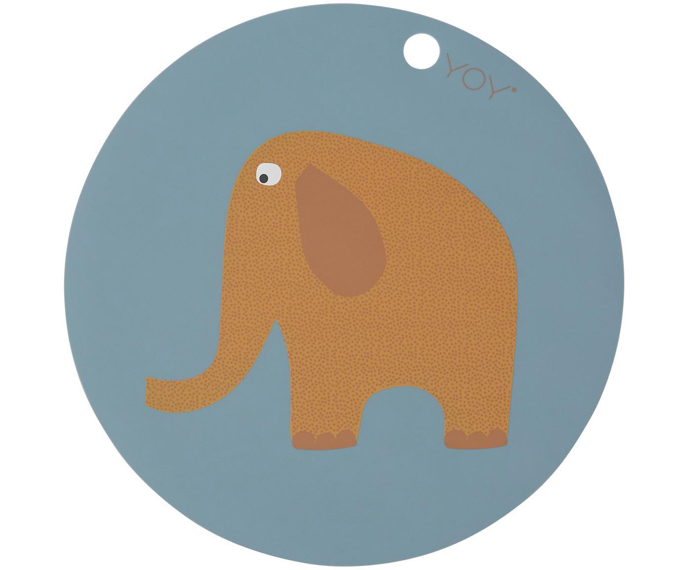 Tovaglietta in silicone con elefantino Elephant, Silicone, Blu, marrone, arancione, bianco, nero, Ø 39 cm