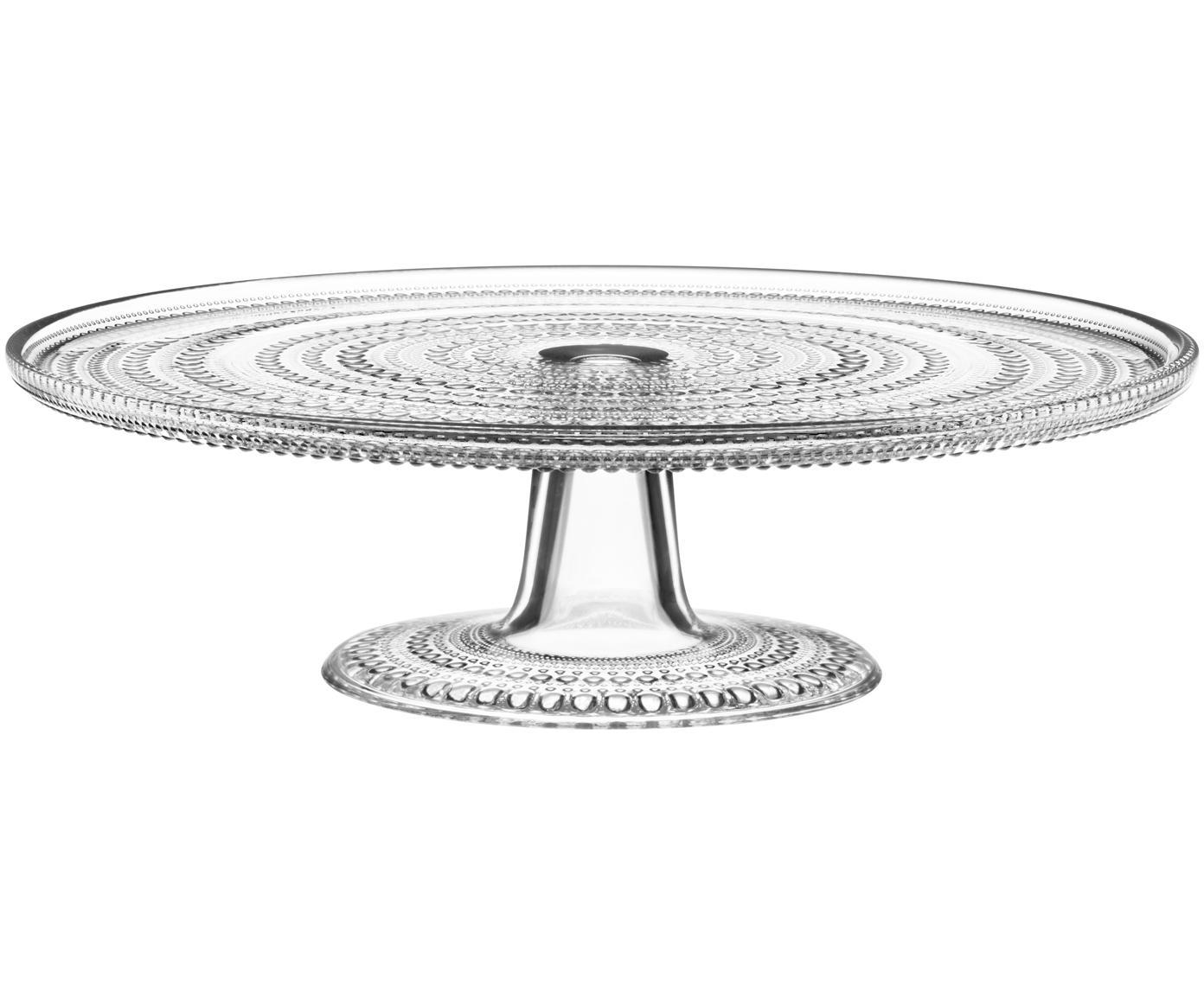 Glas-Tortenplatte Kastehelmi mit Tropfendesign, Glas, Transparent, Ø 32 cm