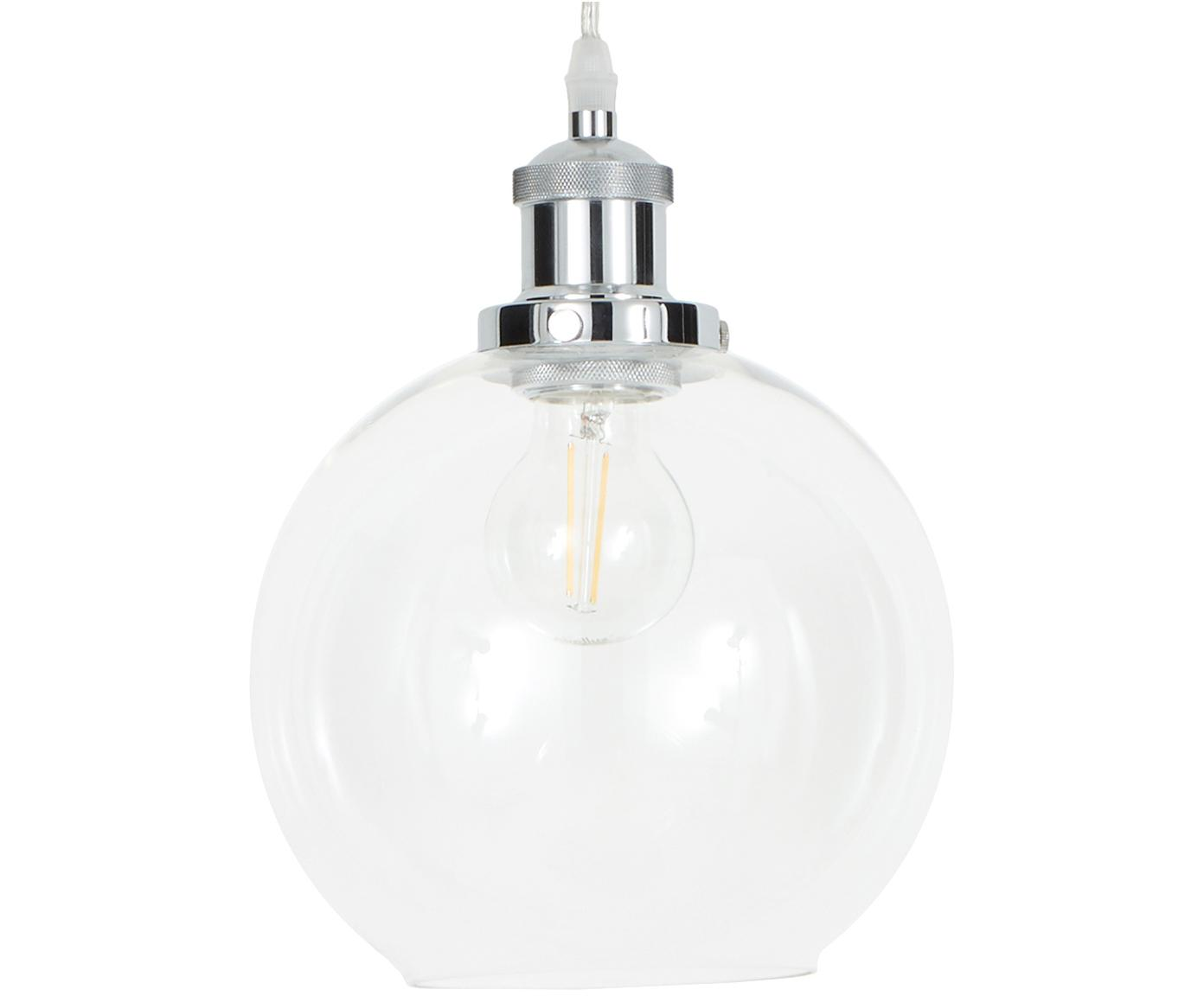 Kleine Pendelleuchte New York Loft aus Glas, Lampenschirm: Glas, Chrom, Transparent, Ø 20 x H 25 cm