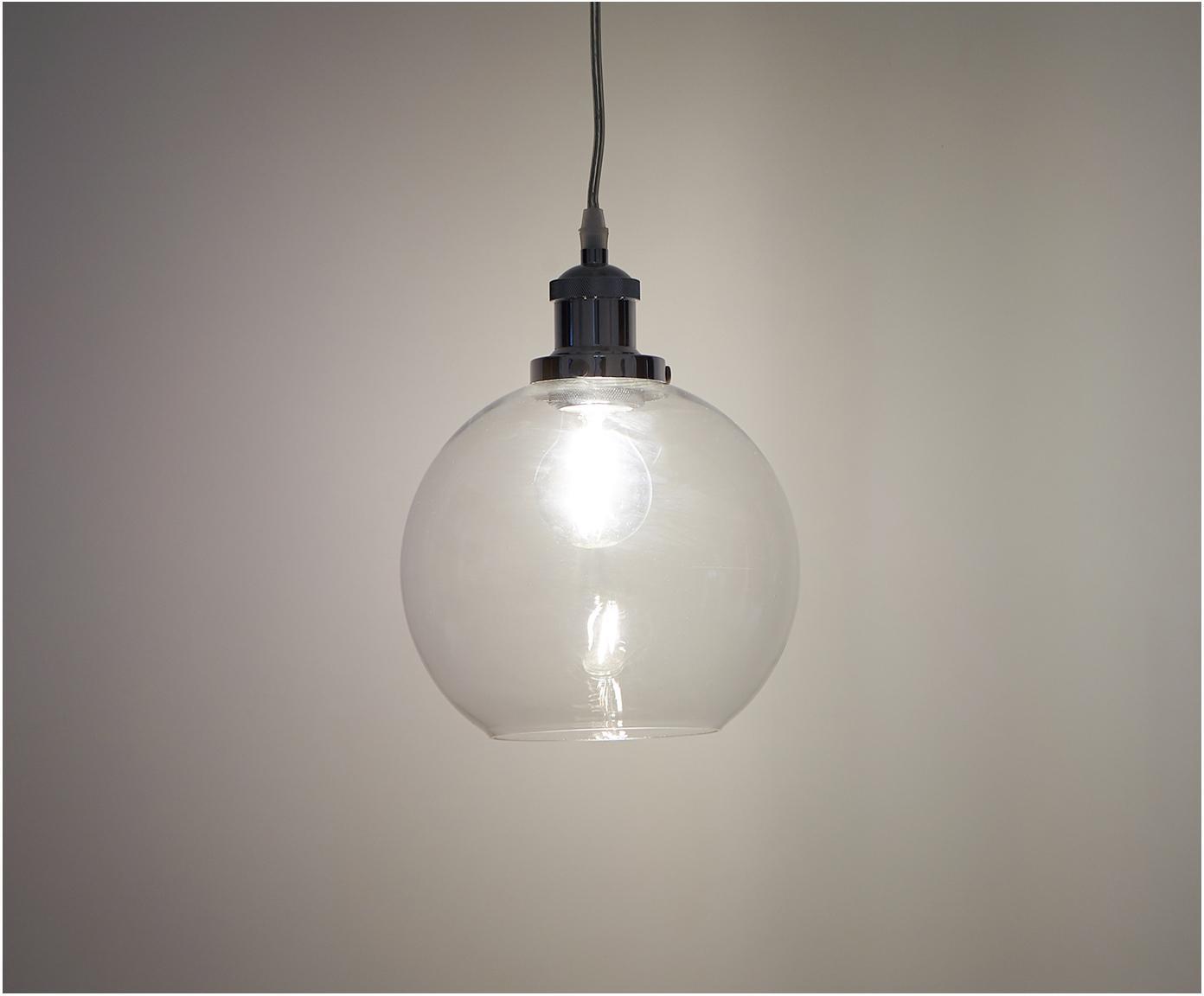 Malé závěsné svítidlo ze skla New York Loft, Chromová, transparentní