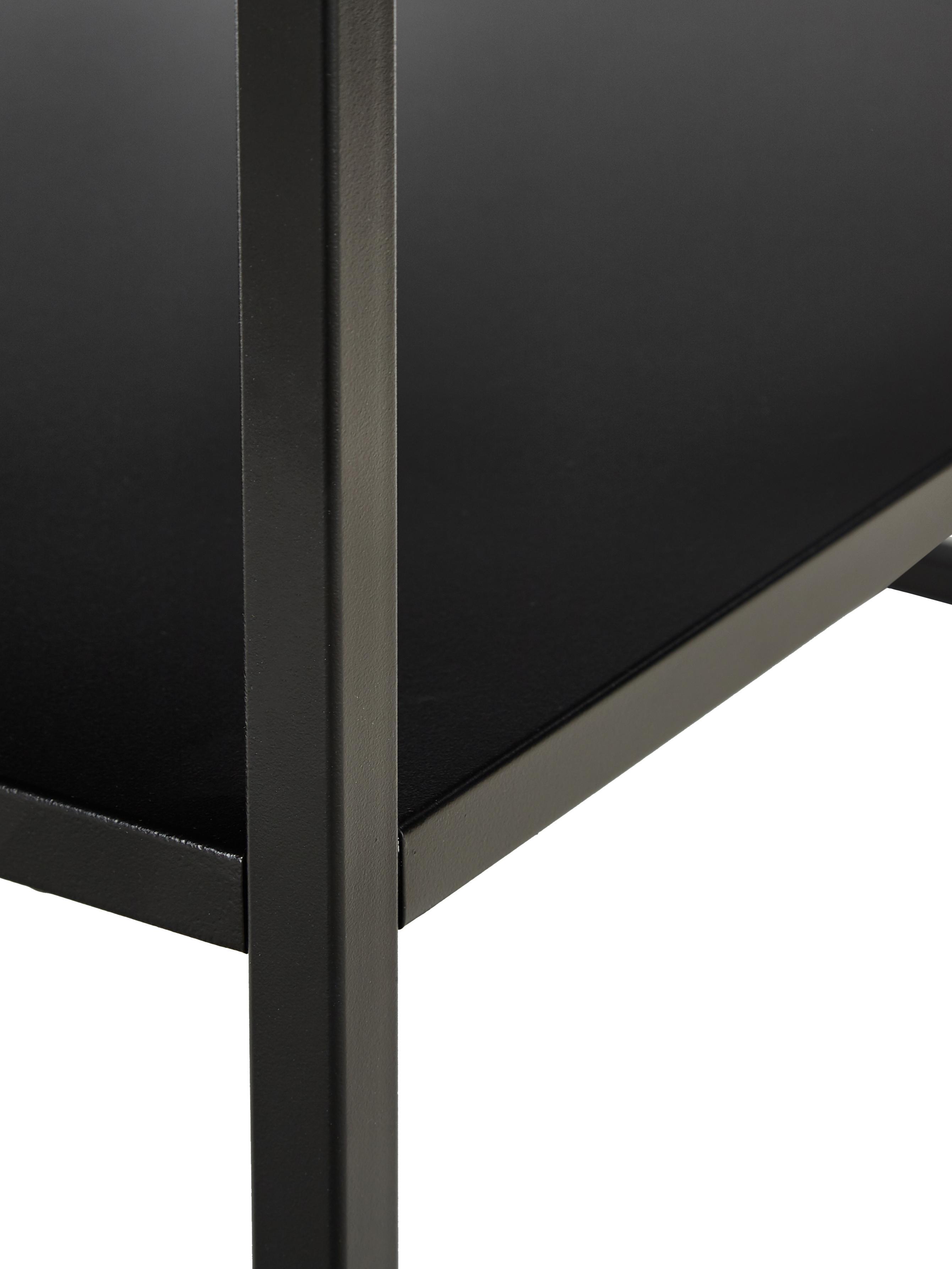 Metall-Couchtisch Newton in Schwarz, Metall, pulverbeschichtet, Schwarz, 90 x 45 cm