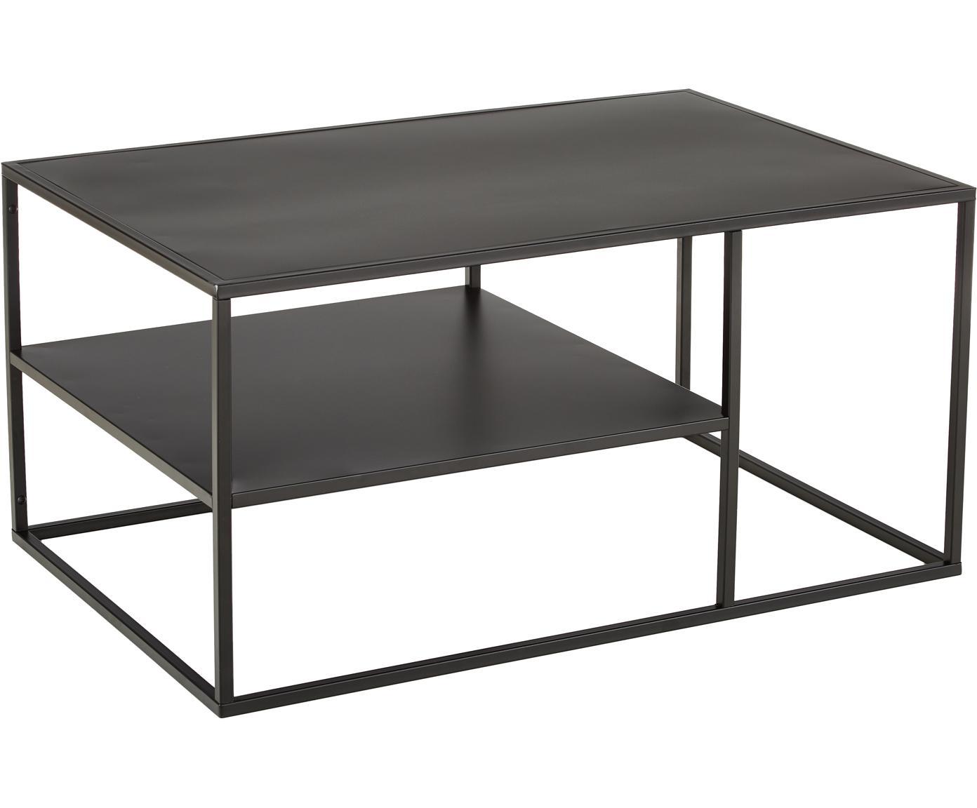 Tavolino da salotto con piano d'appoggio Newton, Metallo  verniciato a polvere, Nero, Larg. 90 x Prof. 60 cm