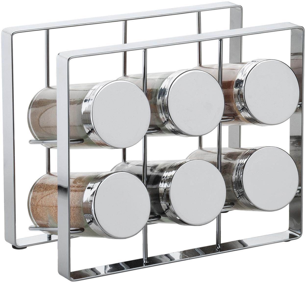 Organizador de especias Spices, 7pzas., Estructura: metal pintado, Botes: vidrio, Plateado, An 18 x Al 15 cm