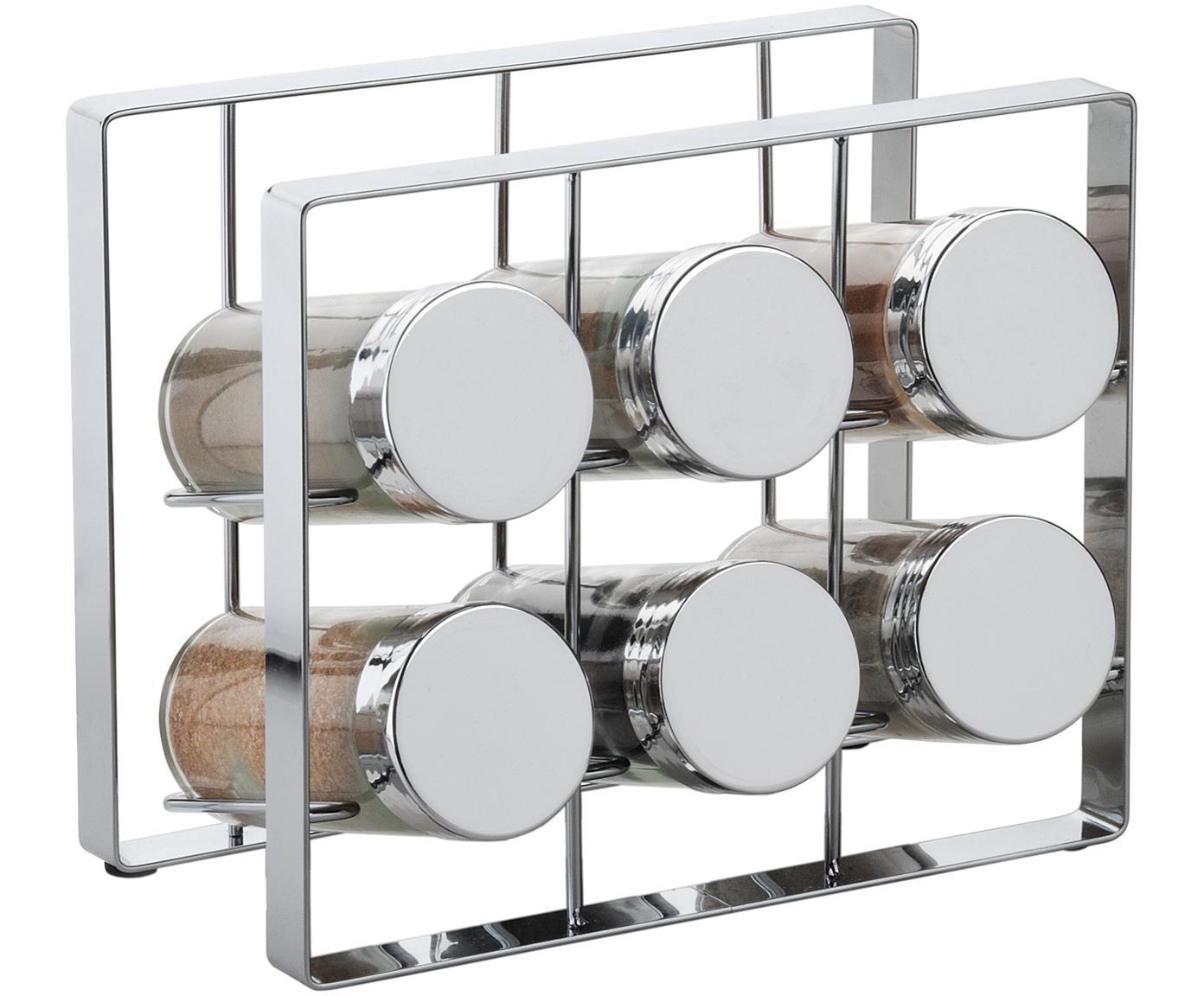 Gewürzregal mit Aufbewahrungsdosen Spices, 7-tlg., Gestell: Metall, lackiert, Dosen: Glas, Deckel: Aluminium, lackiert, Silberfarben, 18 x 15 cm