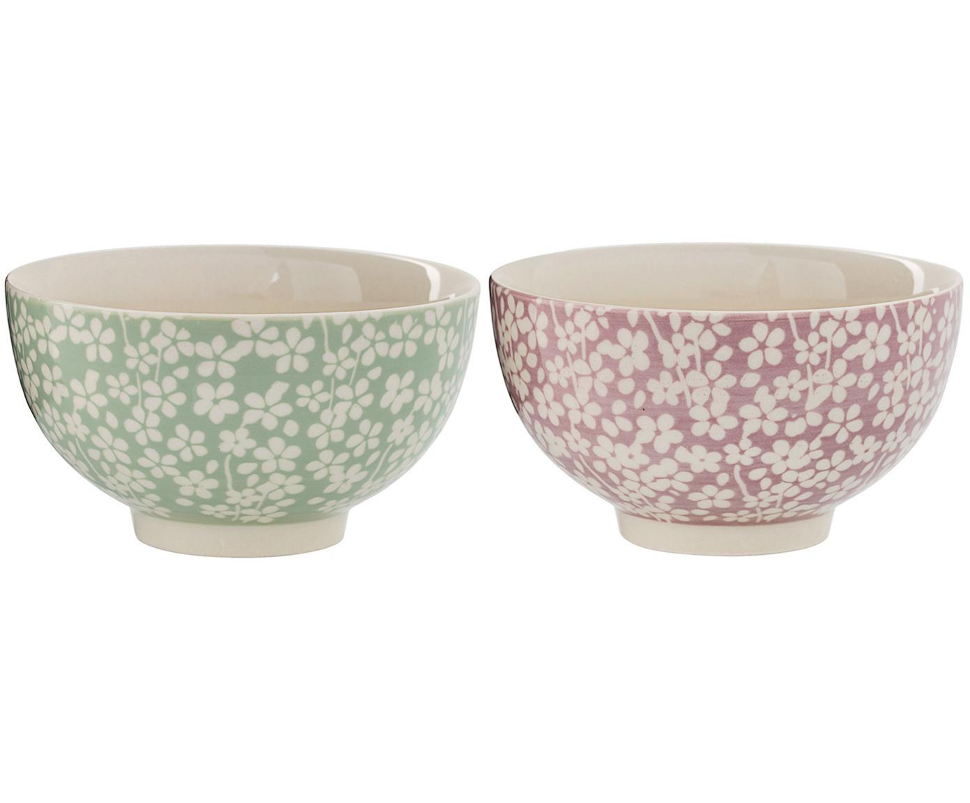 Schälchen-Set Seeke, 2-tlg., Keramik, Mauve, Lorbeer, Creme, Ø 14 x H 8 cm