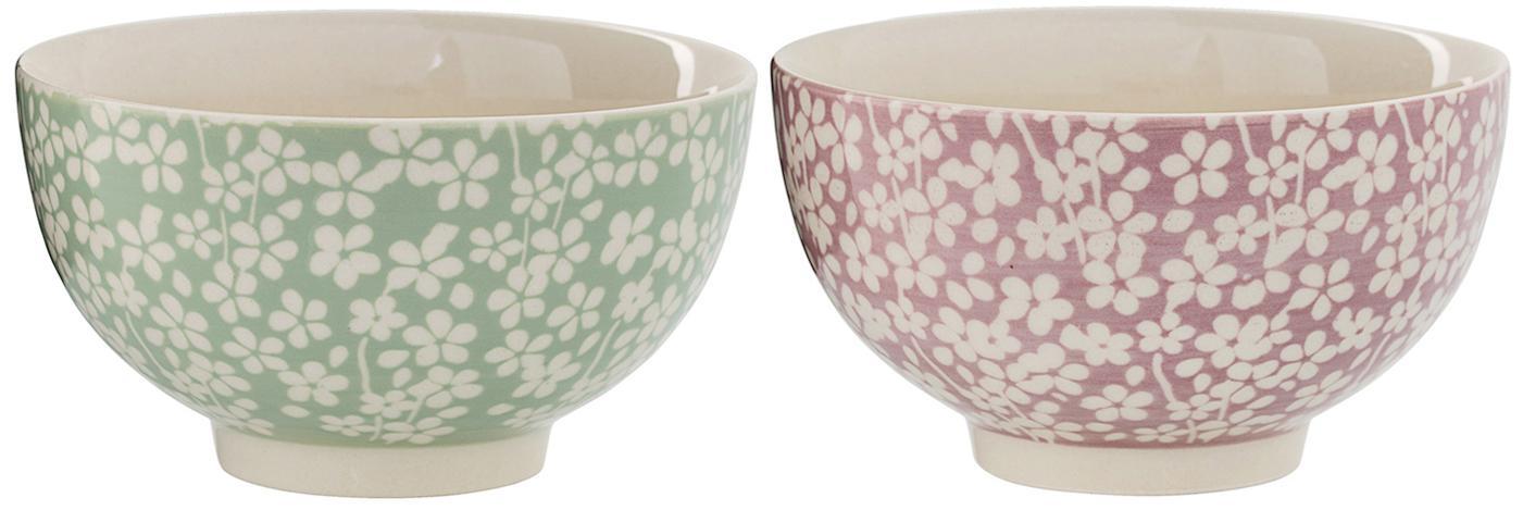 Schälchen Seeke mit kleinem Muster, 2er-Set, Keramik, Mauve, Lorbeer, Creme, Ø 14 x H 8 cm
