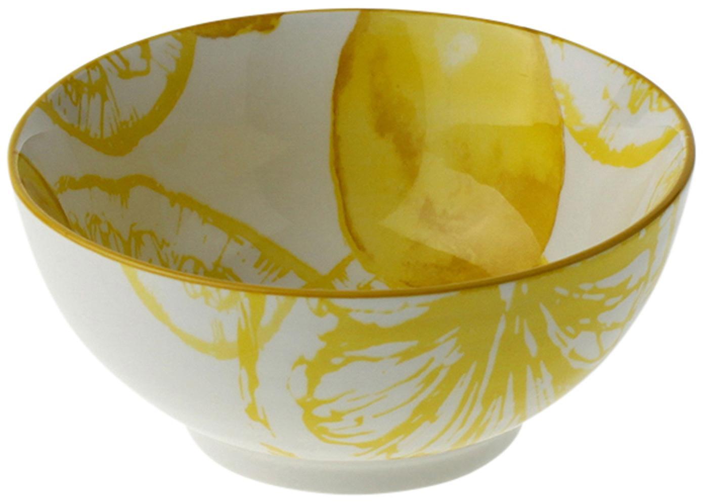 Ciotola con motivo a limone Lemon, Porcellana, Bianco, giallo, Ø 14 x Alt. 7 cm