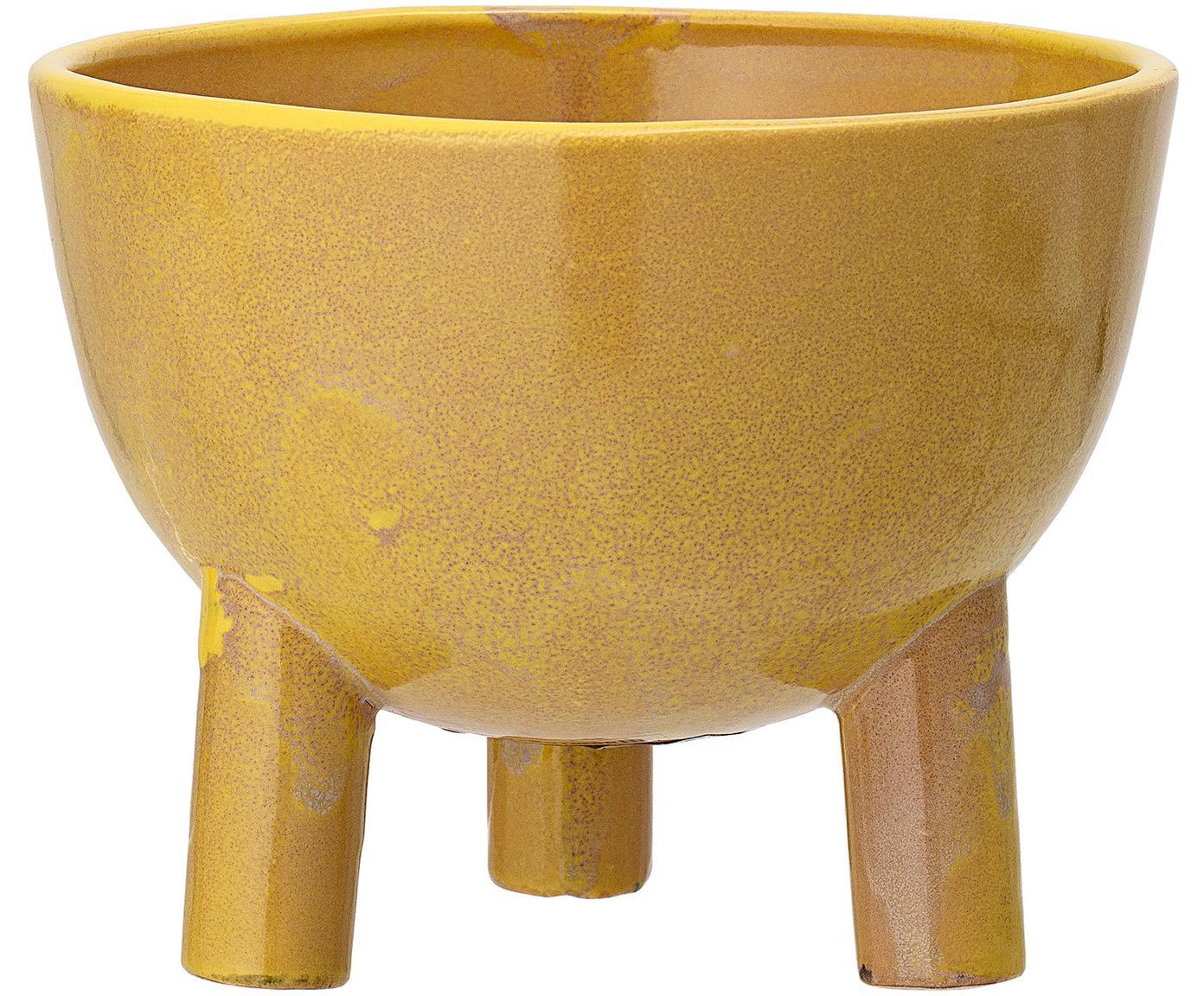 Ręcznie wykonana osłonka na doniczkę Aaren, Kamionka, Żółty, Ø 15 x W 12 cm