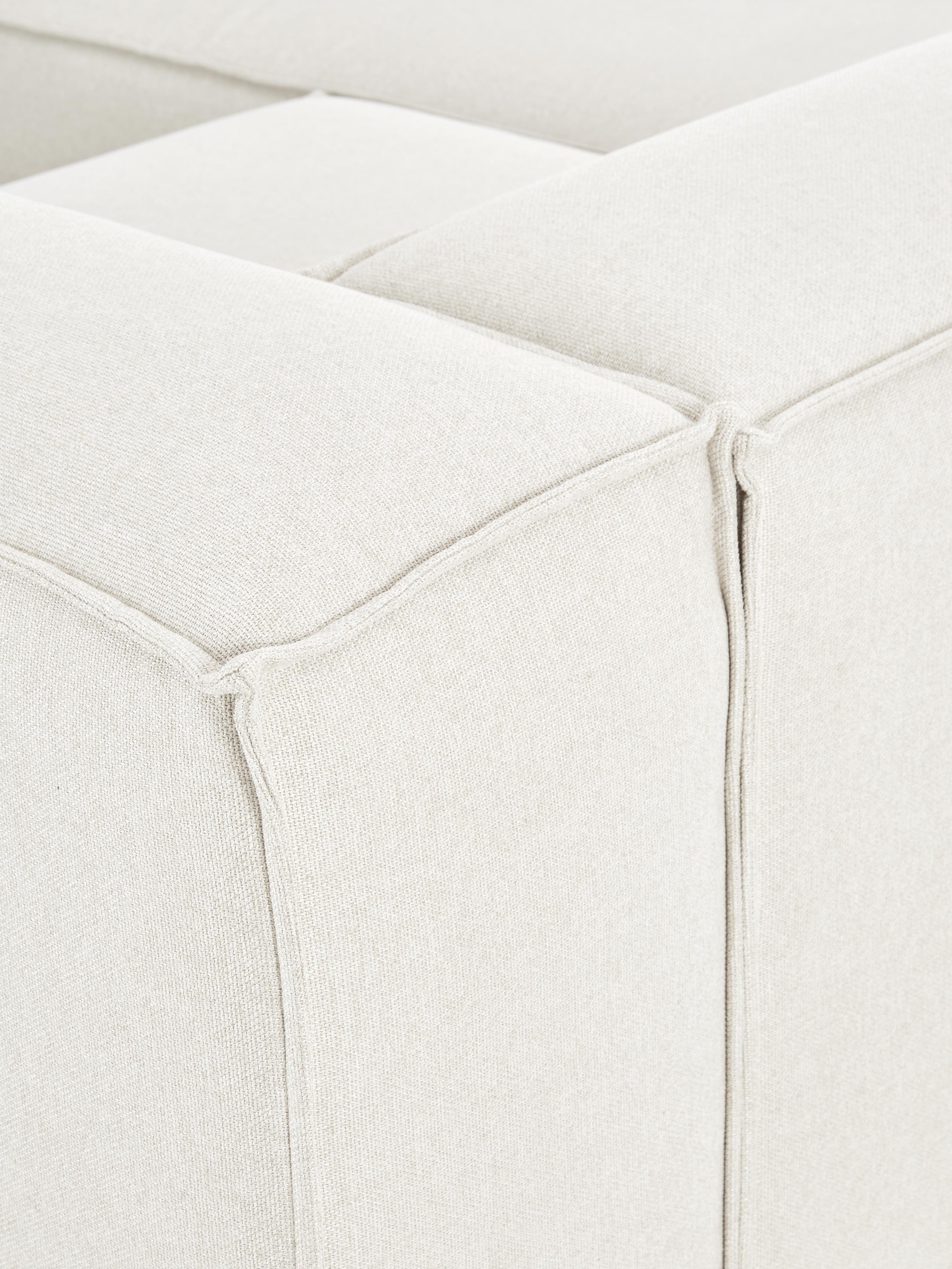 Canapé d'angle modulable dossier bas Lennon, Tissu beige