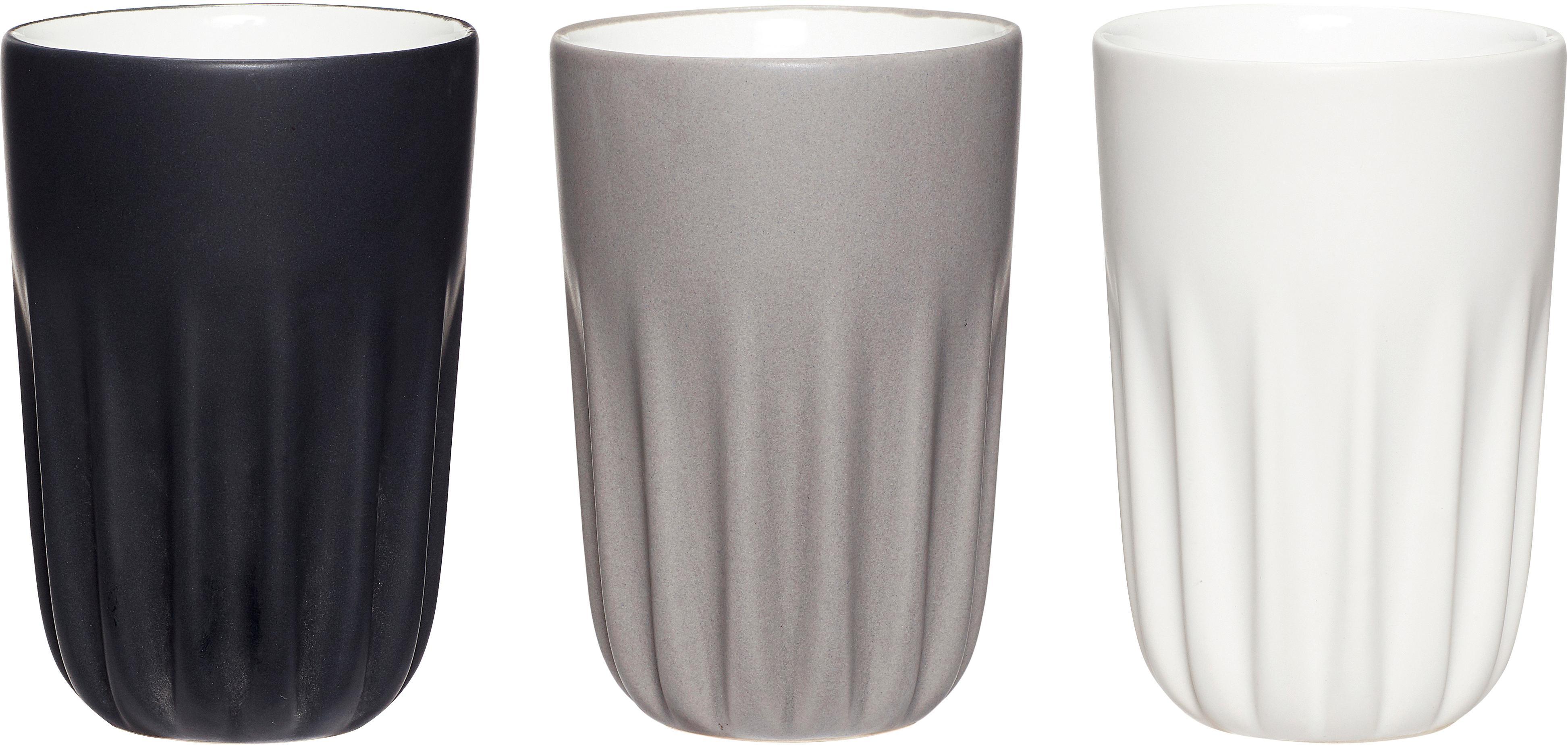 Keramik-Becher Erlang, 3er-Set, Keramik, Weiss, Schwarz, Grau, Ø 8 x H 12 cm