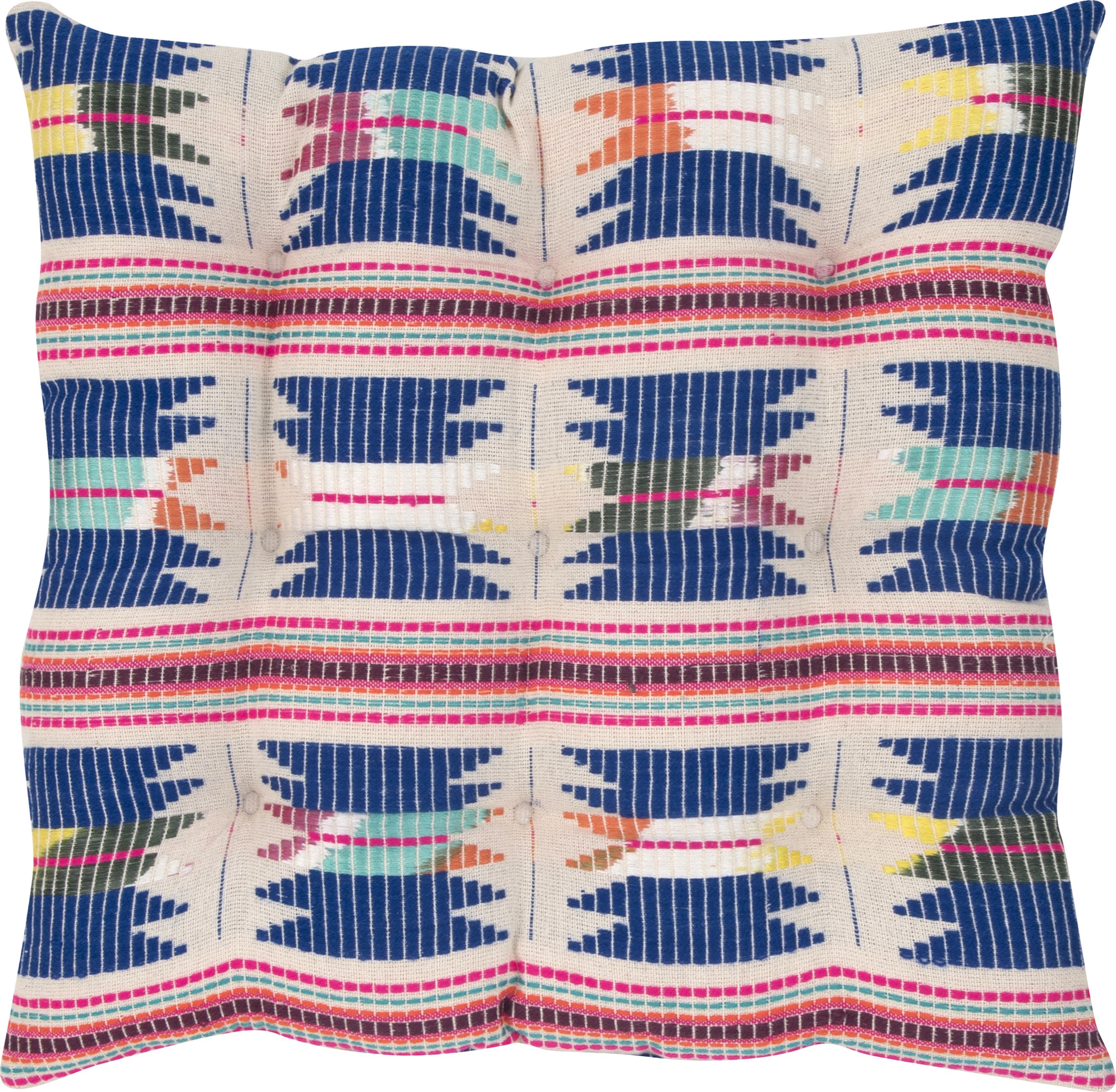 Cuscino sedia ricamato Maria, Fronte: multicolore Retro: beige, Larg. 40 x Lung. 40 cm