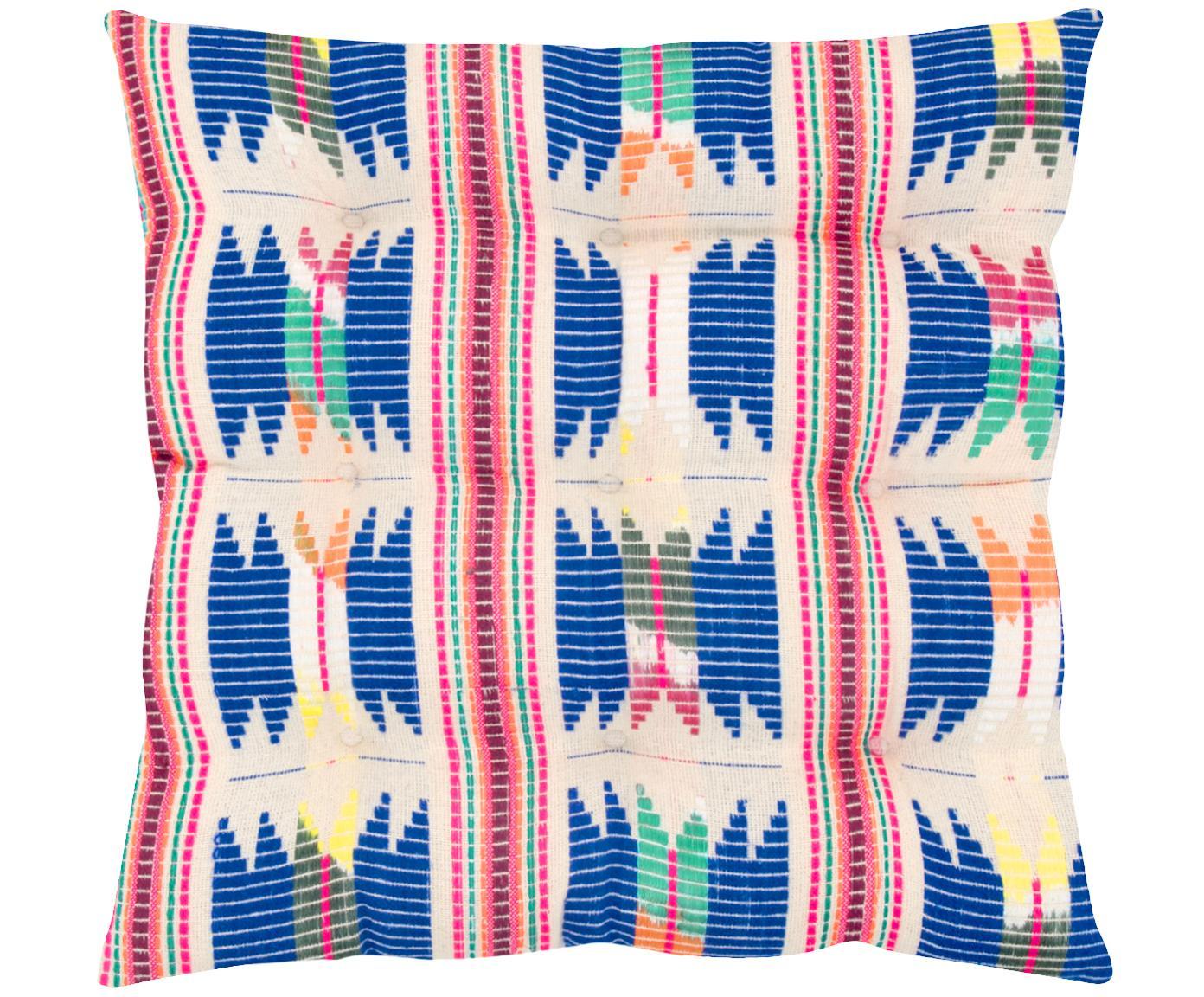 Poduszka na siedzisko Maria, Przód: wielobarwny Tył: beżowy, S 40 x D 40 cm
