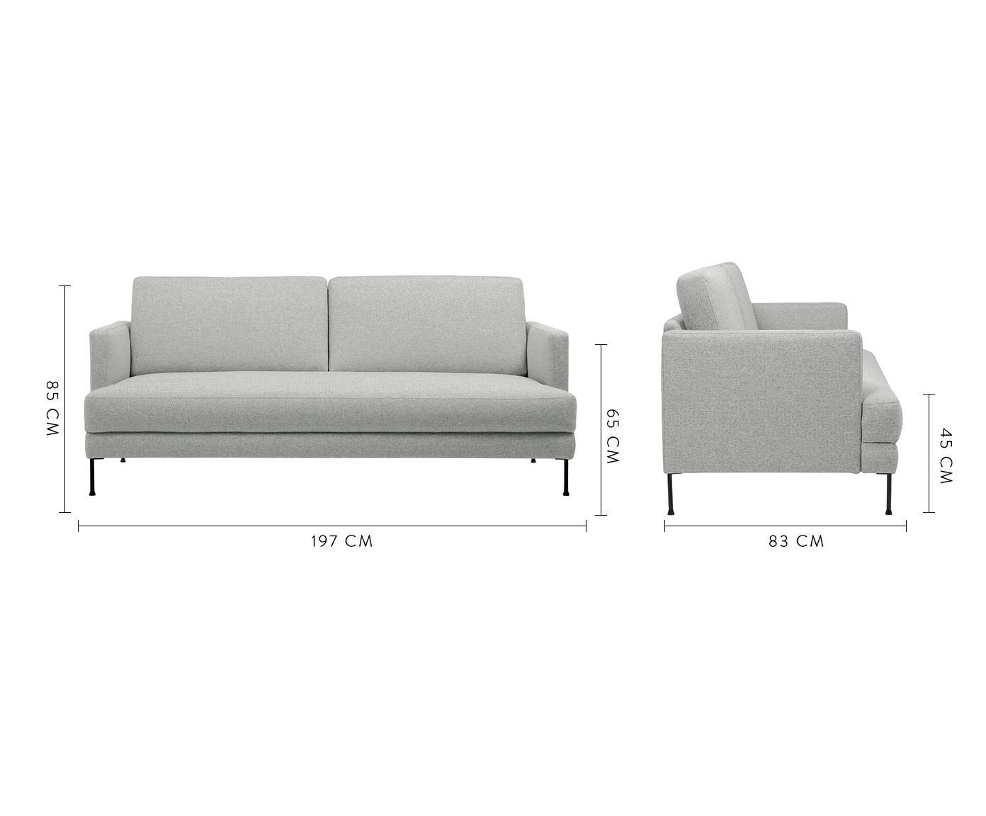 Sofa Fluente (3-Sitzer), Bezug: Polyester 45.000 Scheuert, Gestell: Massives Kiefernholz, Füße: Metall, lackiert, Webstoff Hellgrau, 197 x 85 cm