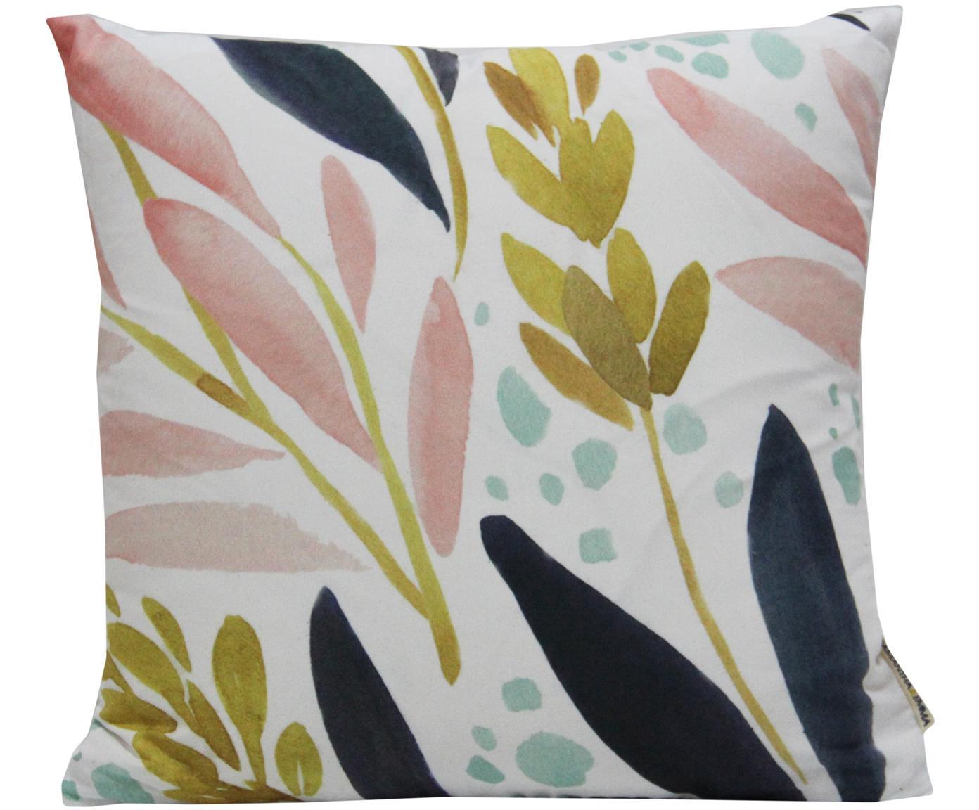 Kissenhülle Agia mit Aquarell Print, 100% Polyester, Weiß, Dunkelblau, Hellblau, Rosa, Senfgelb, 40 x 40 cm