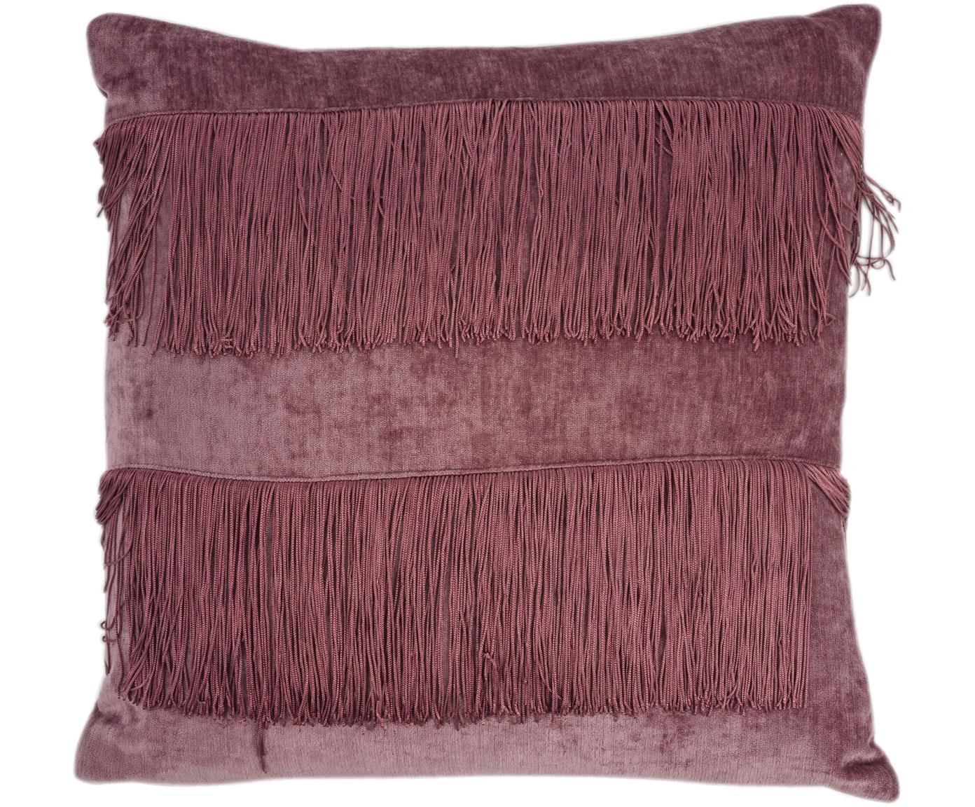 Schimmerndes Kissen Stefanie mit Fransen, mit Inlett, Bezug: Polyester, Rosa, 45 x 45 cm