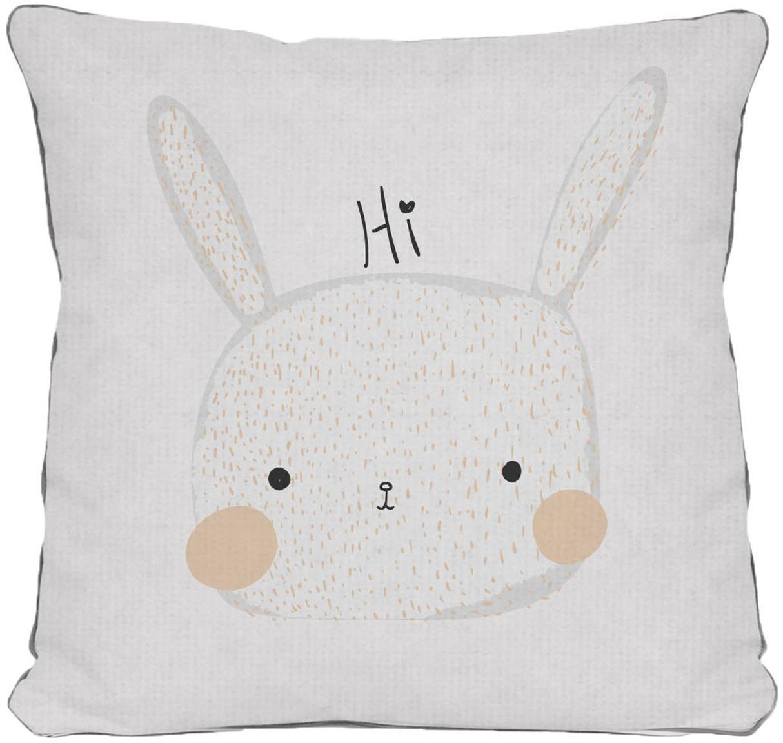 Federa con coniglietto Rabbit, Poliestere, Bianco, beige, grigio, nero, Larg. 45 x Lung. 45 cm