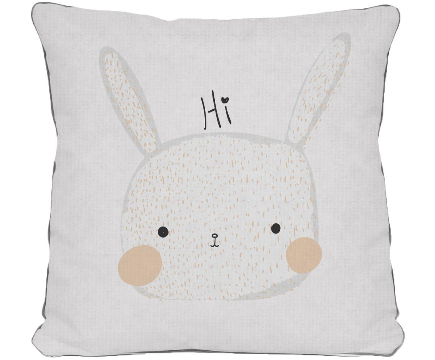 Kissenhülle Rabbit, Polyester, Weiss, Beige, Grau, Schwarz, 45 x 45 cm