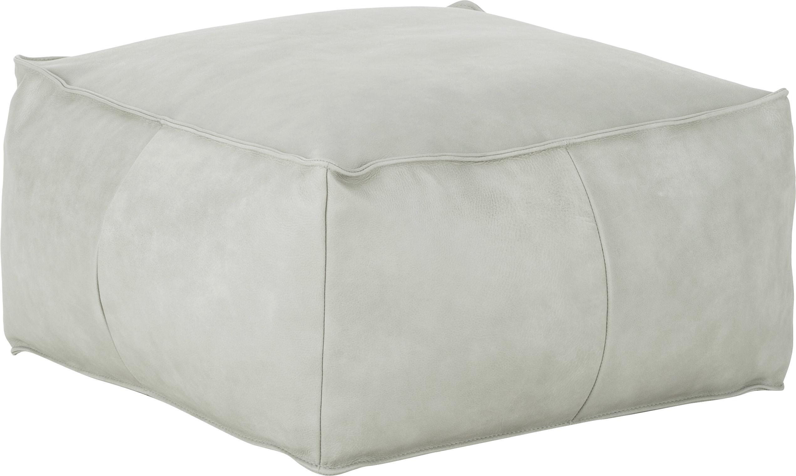 Cuscino da pavimento in pelle Porthos, Rivestimento: 100% pelle anilina, Grigio chiaro, Larg. 80 x Alt. 33 cm